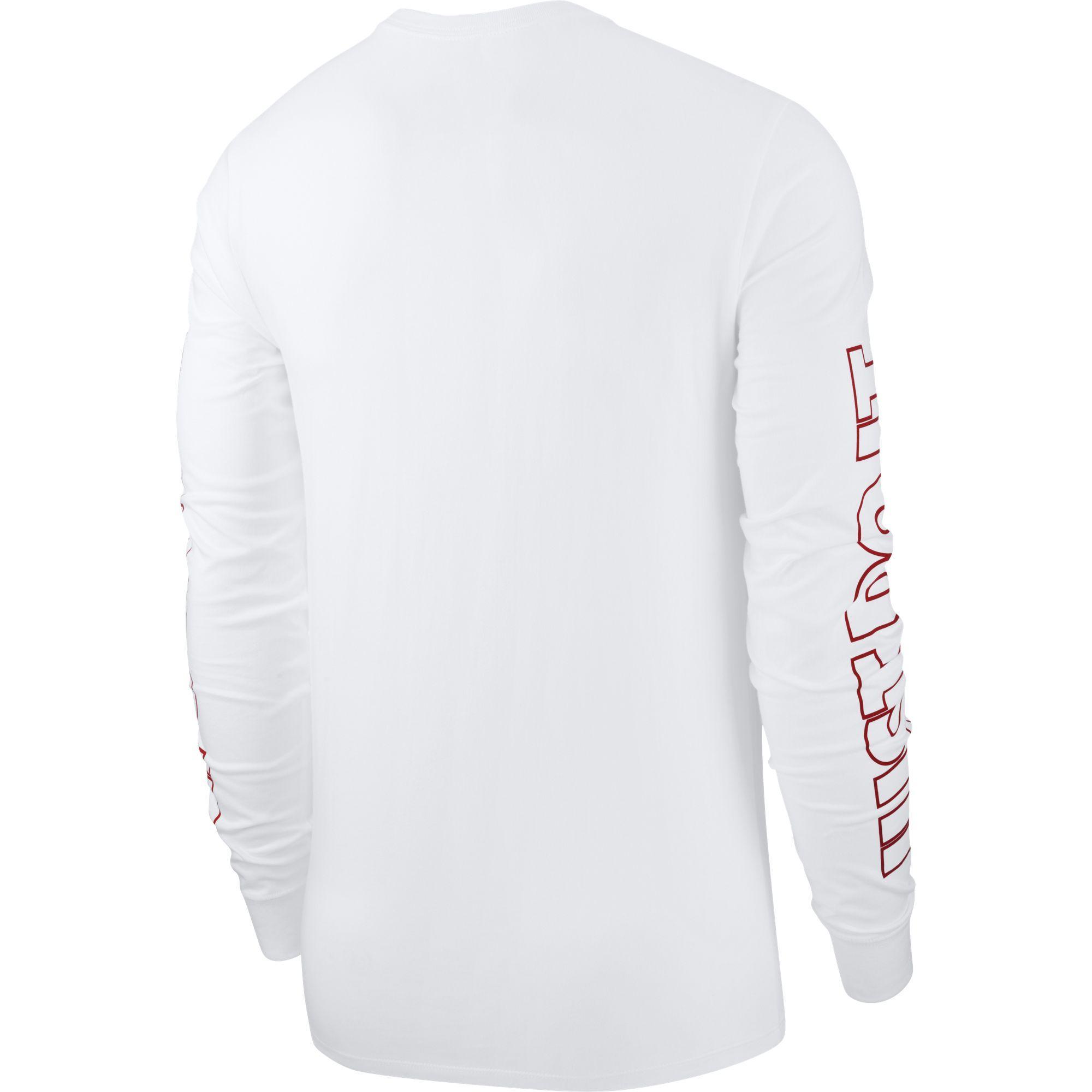 3ebf0feb Nike Mens NSW Long Sleeve Top - White/Red - Tennisnuts.com