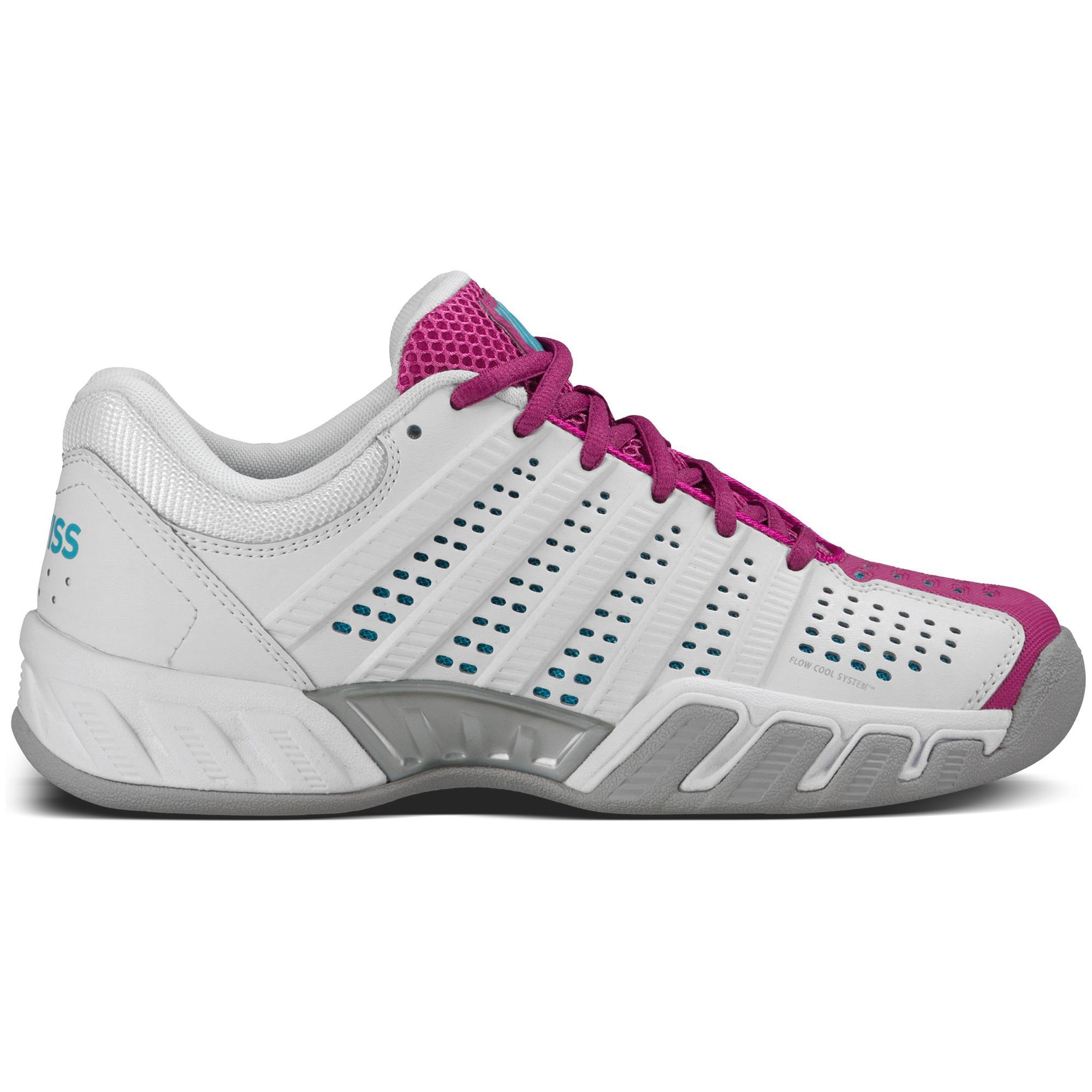 9e13aa33499 K-Swiss Womens BigShot Light 2.5 Indoor Carpet Tennis Shoes - White/Berry