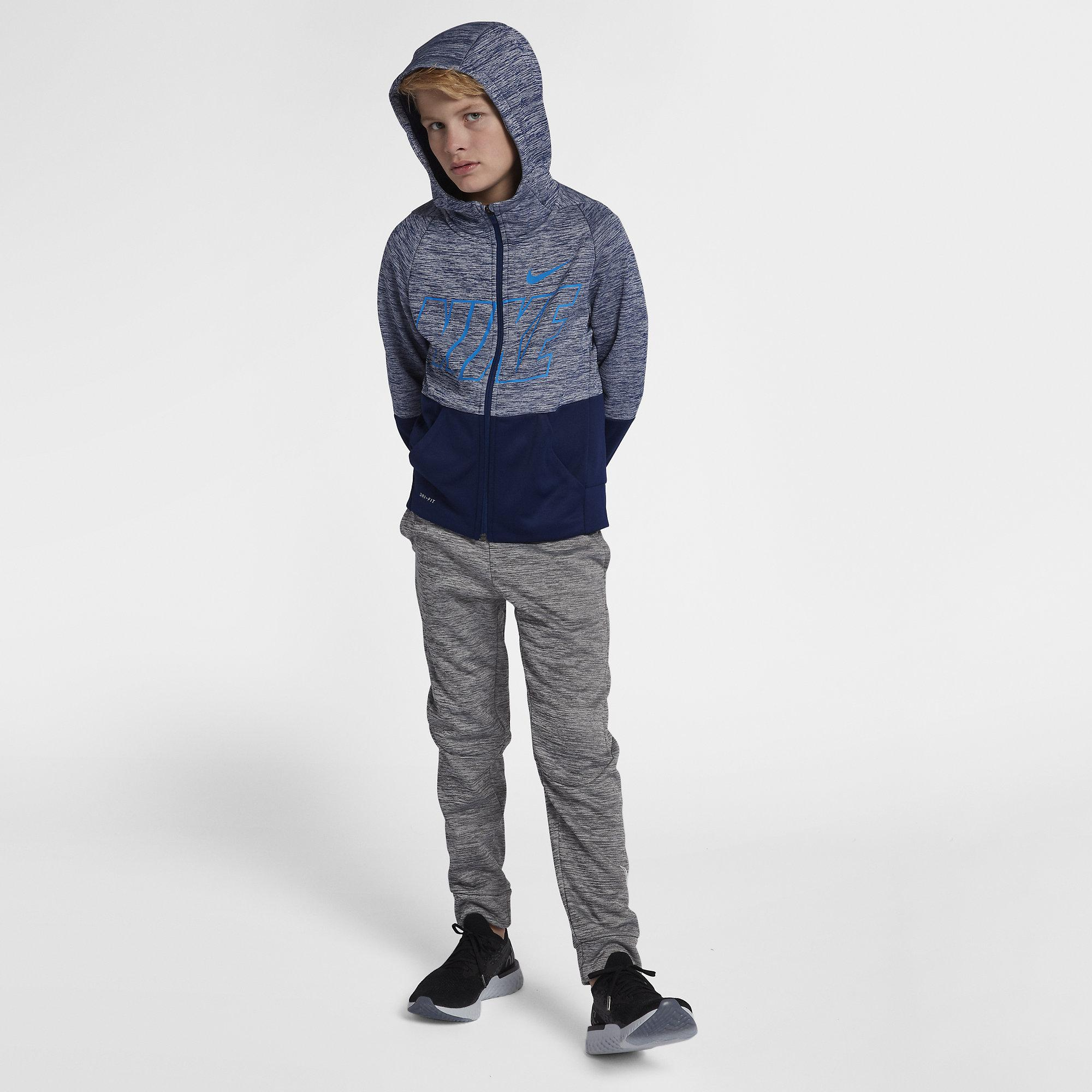 d35cb7c29 Nike Boys Dri-FIT Therma Full-Zip Training Hoodie - Blue Void/Blue ...