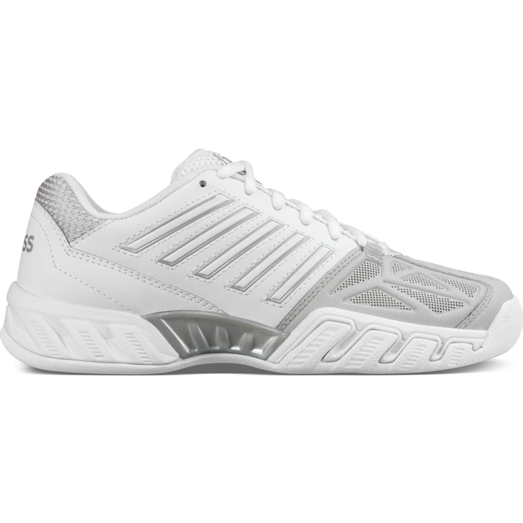 b346b60a8b3 K-Swiss Womens BigShot Light 3 Carpet Tennis Shoes - White/Silver