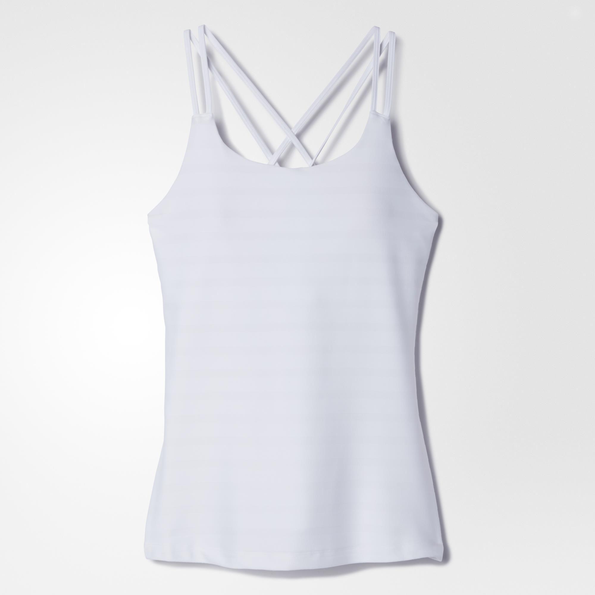 1286ef56bb Adidas Womens All Premium Strappy Tank Top - White - Tennisnuts.com