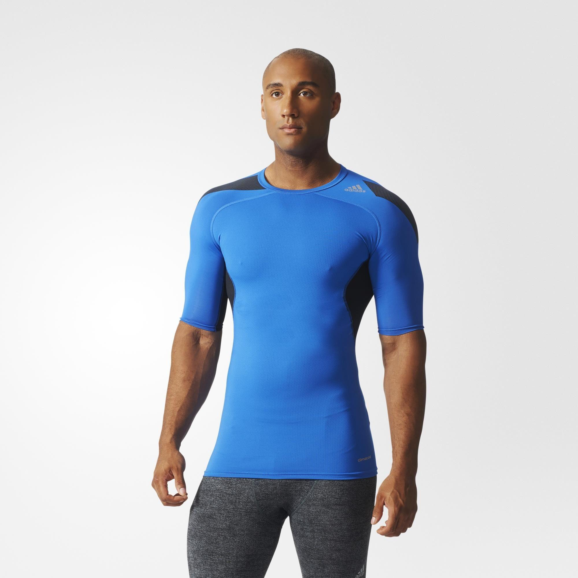 Adidas Mens Techfit Cool Short Sleeve Top - Blue/Black ...
