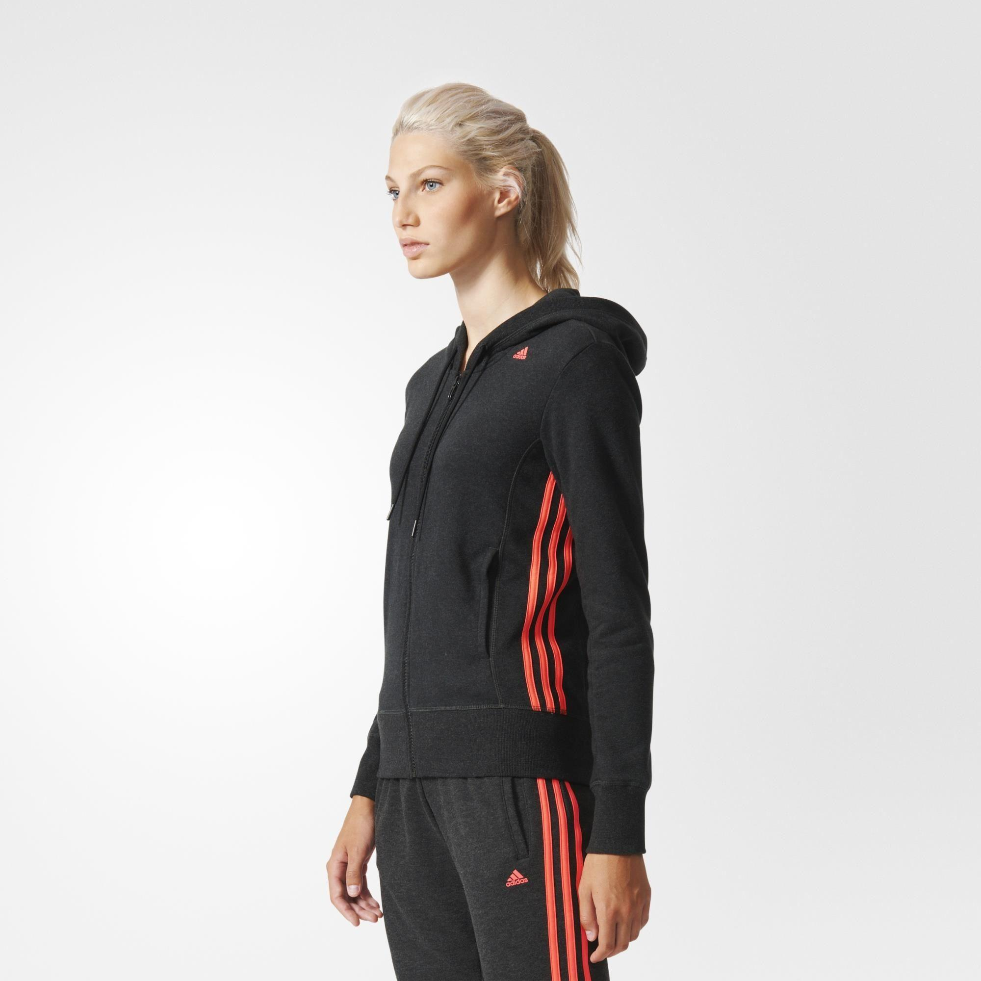 Adidas Womens Essentials Mid 3-Stripes Hoodie - Black - Tennisnuts.com 9c1cdbe89
