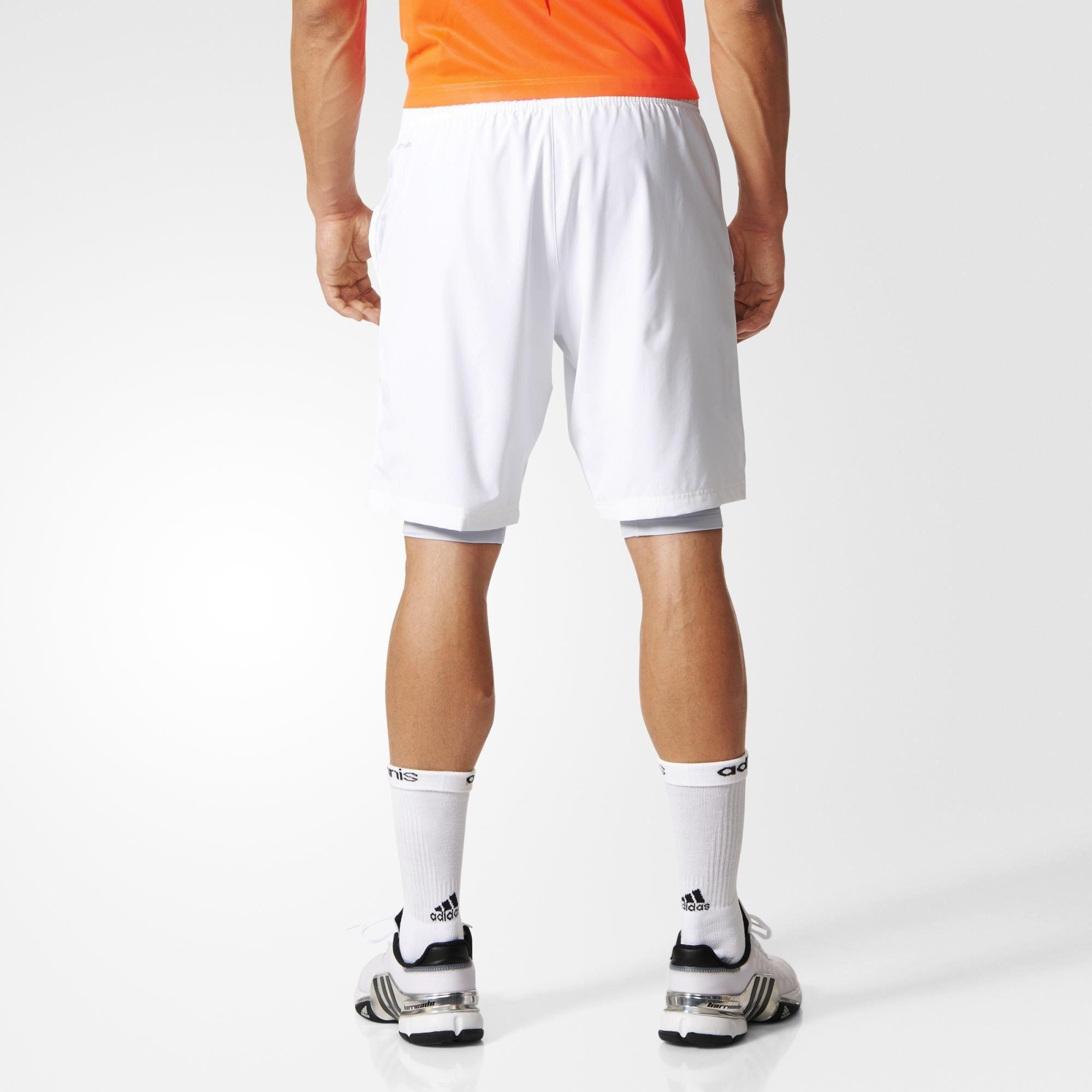 Adidas Mens Adizero 2in1 Bermuda Shorts - White