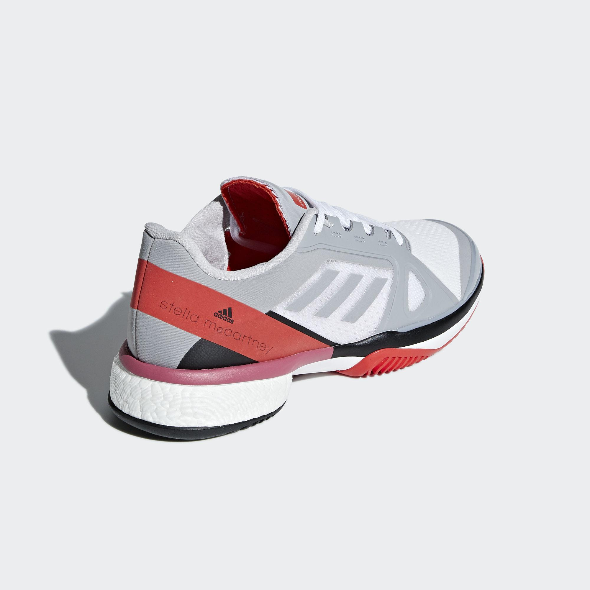 463ce6f0e7aeb1 Adidas Womens SMC Barricade Boost Tennis Shoes - Grey Red ...