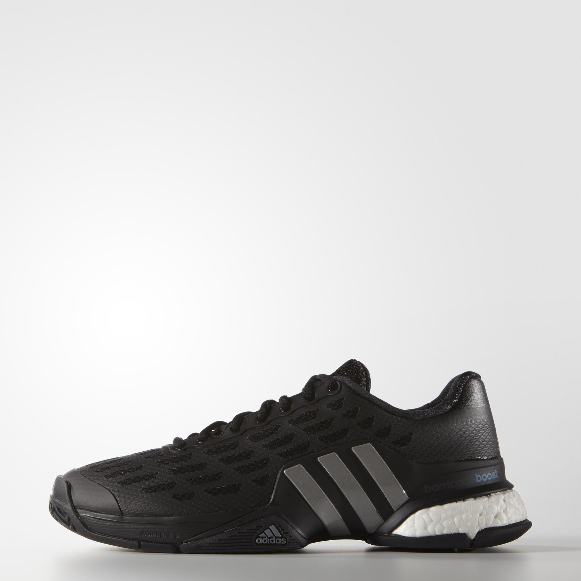 online retailer 711ca 1dd21 Adidas Mens Barricade Boost 2016 Tennis Shoes - Black - Tennisnuts.com