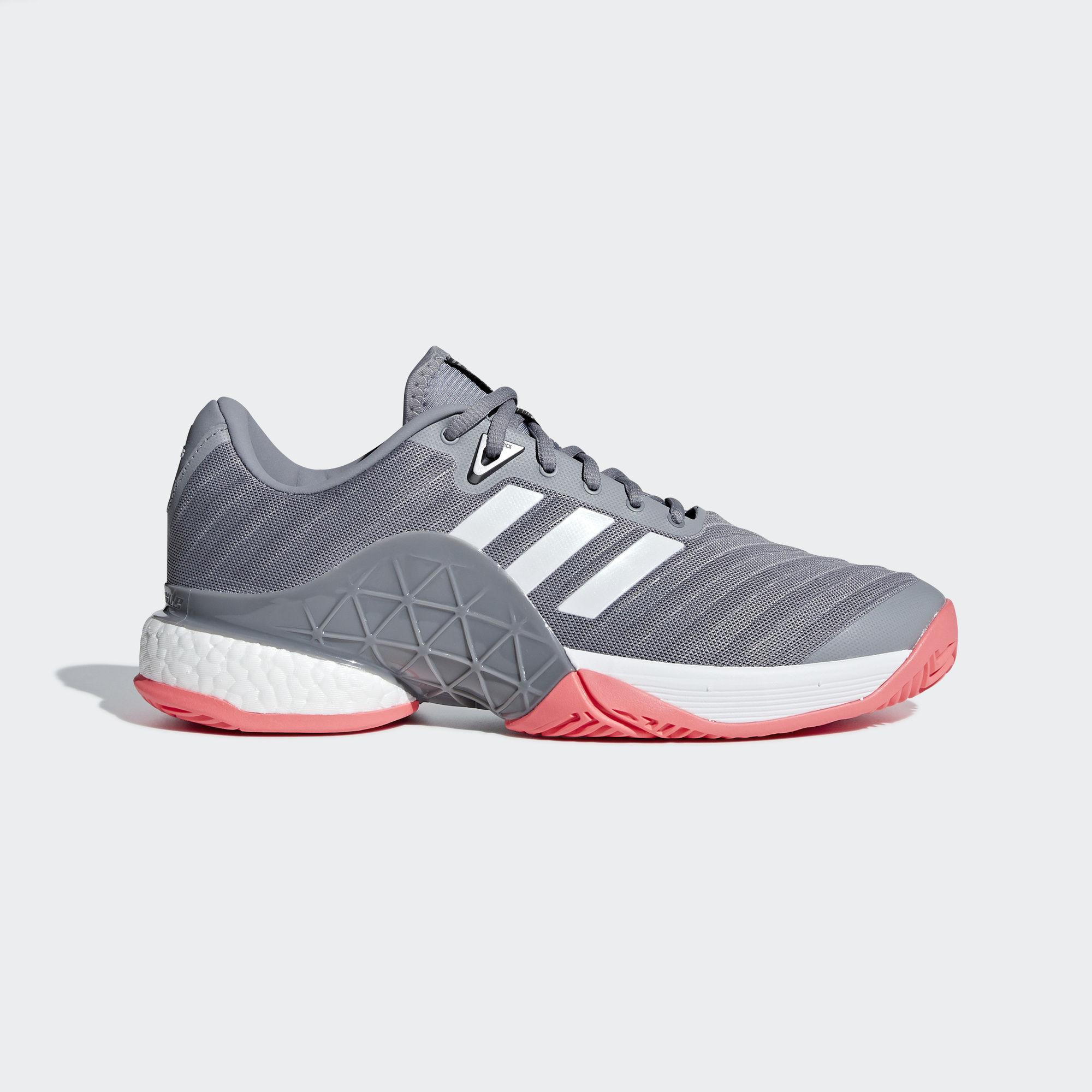 Adidas Mens Barricade Code Boost 2018 Tennis Shoes Matte SilverScarlet