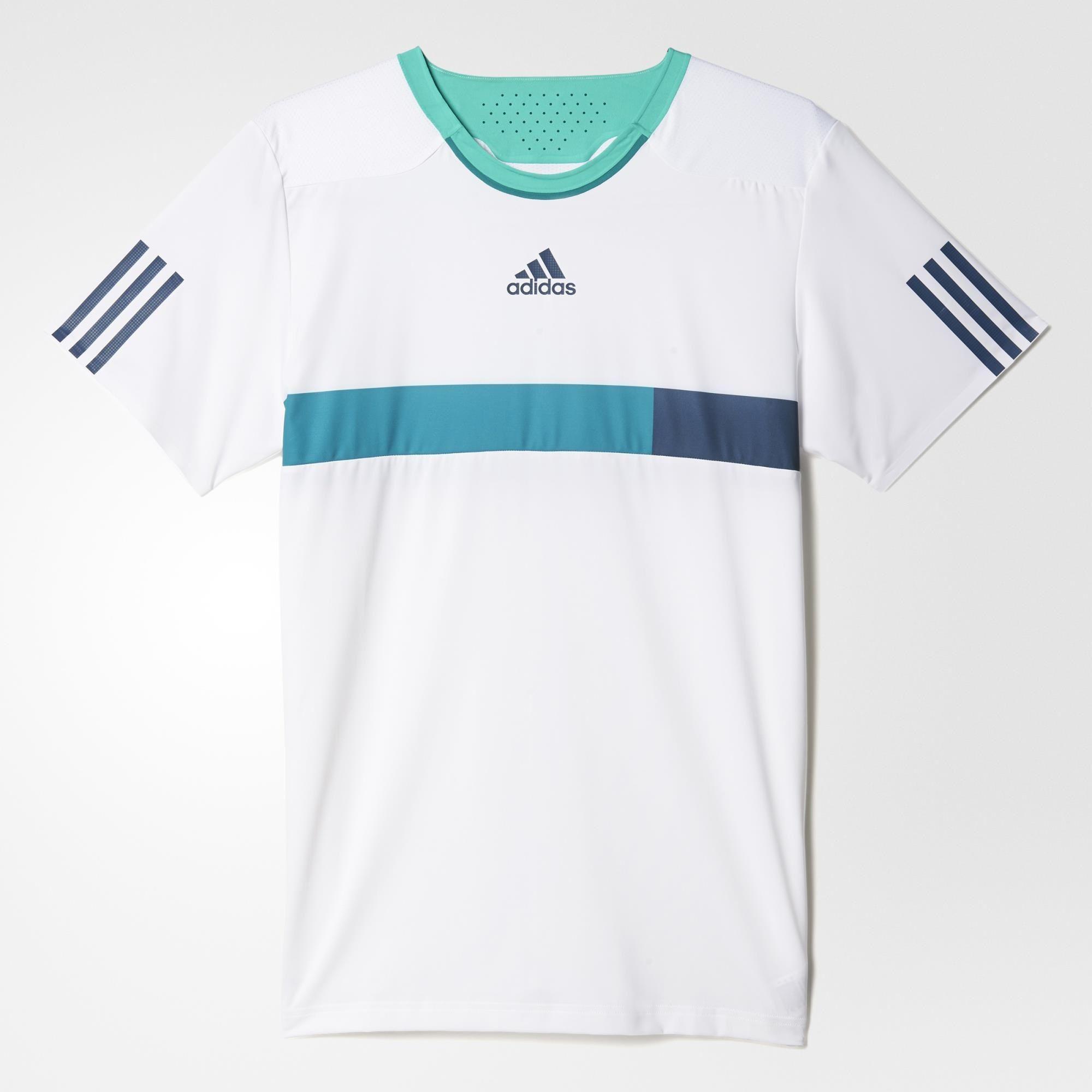 30353d89 Adidas Mens Barricade Tee - White/Blue - Tennisnuts.com