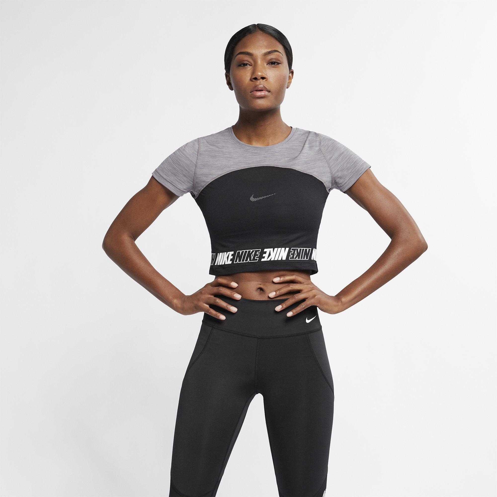 d2e5b0c242c3f Nike Womens Pro Short-Sleeve Crop Top- Gunsmoke Heather White -  Tennisnuts.com