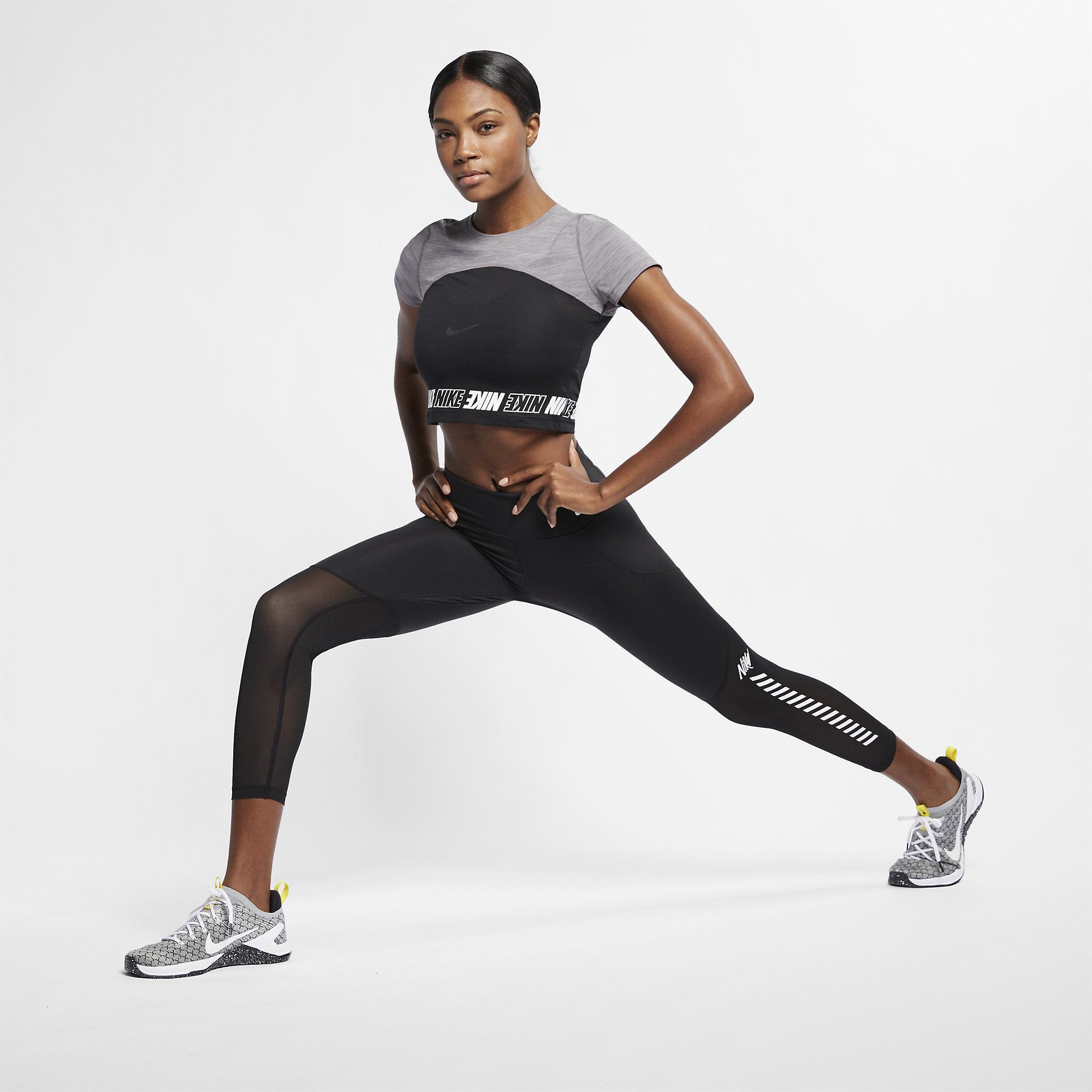a52627342f039b Nike Womens Pro Short-Sleeve Crop Top- Gunsmoke Heather White ...