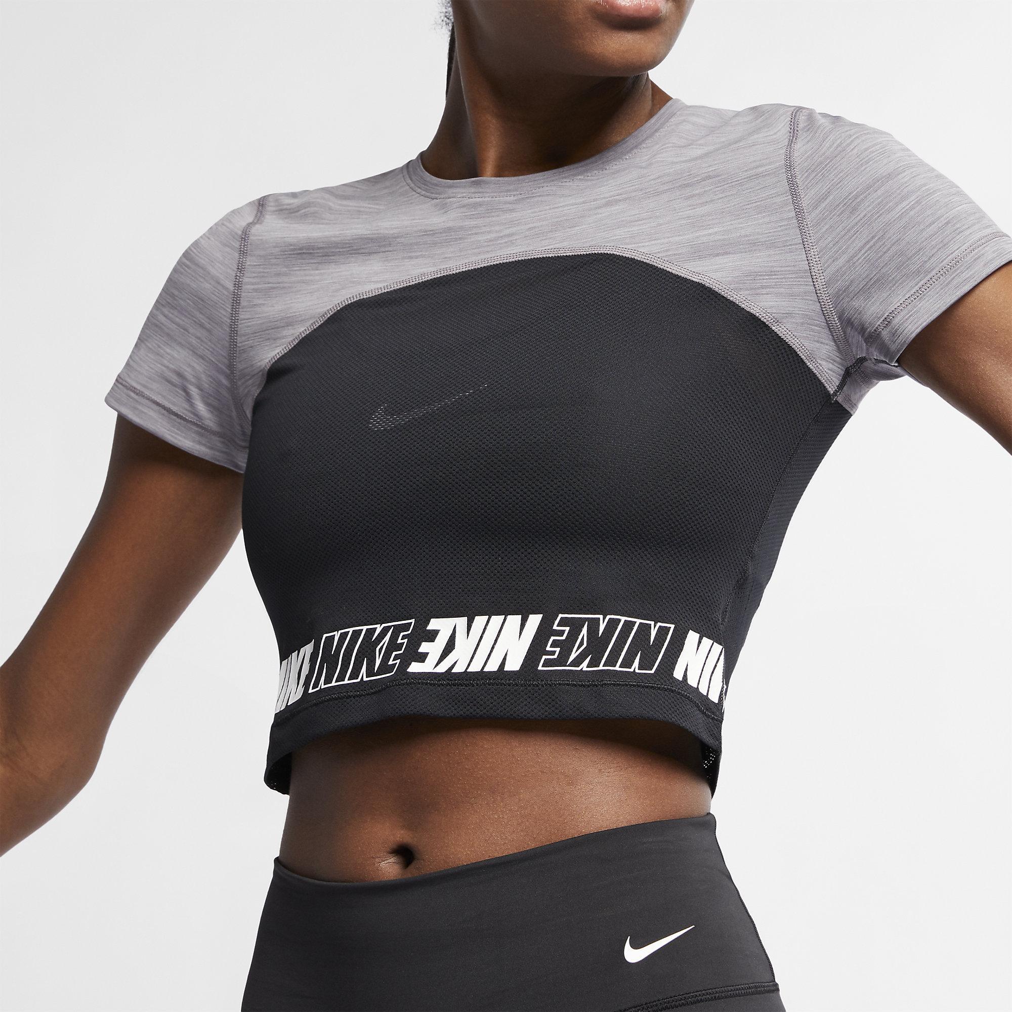 202fd9d64543b Nike Womens Pro Short-Sleeve Crop Top- Gunsmoke Heather White ...