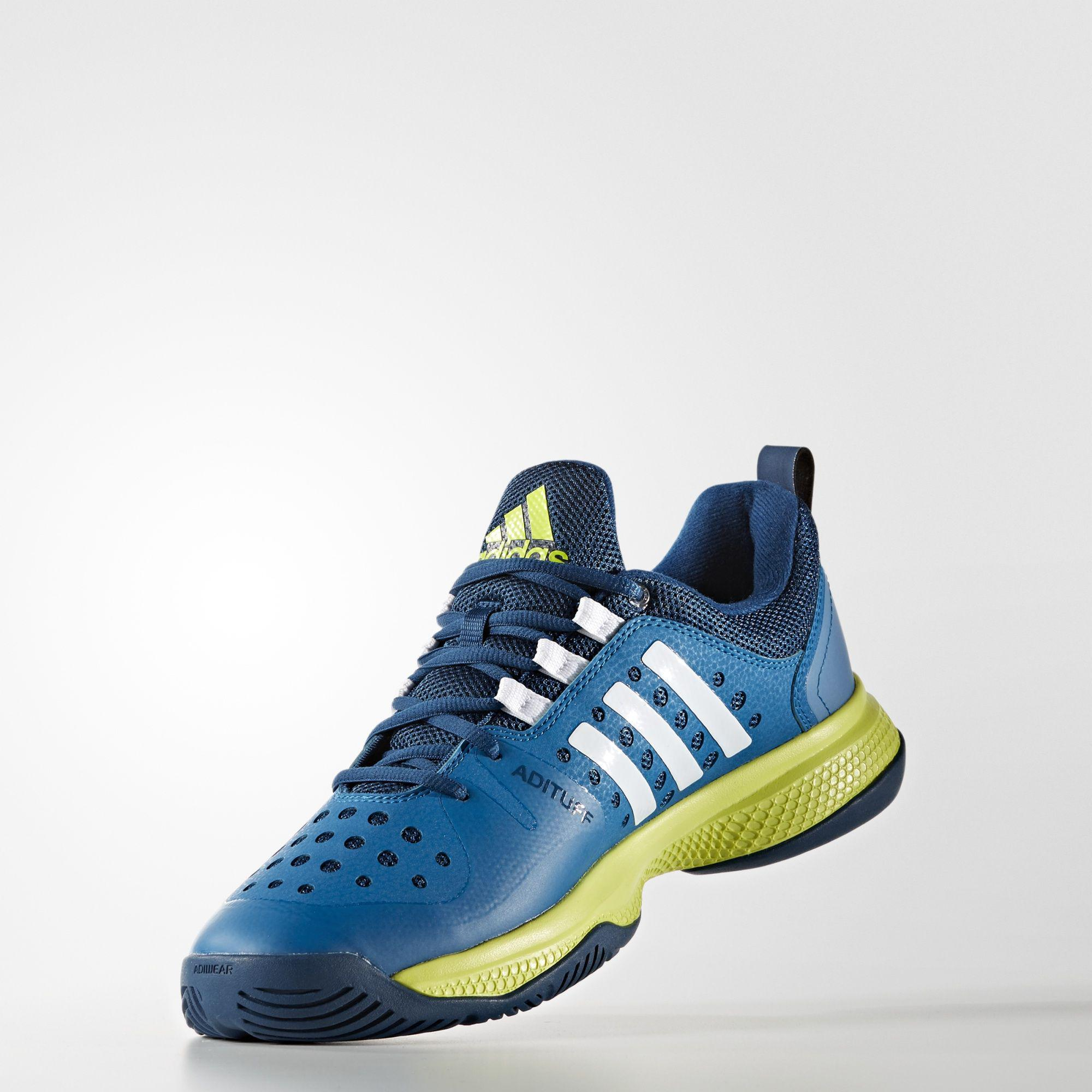 a2a121afa Adidas Mens Barricade Classic Bounce Tennis Shoes - Blue Green ...