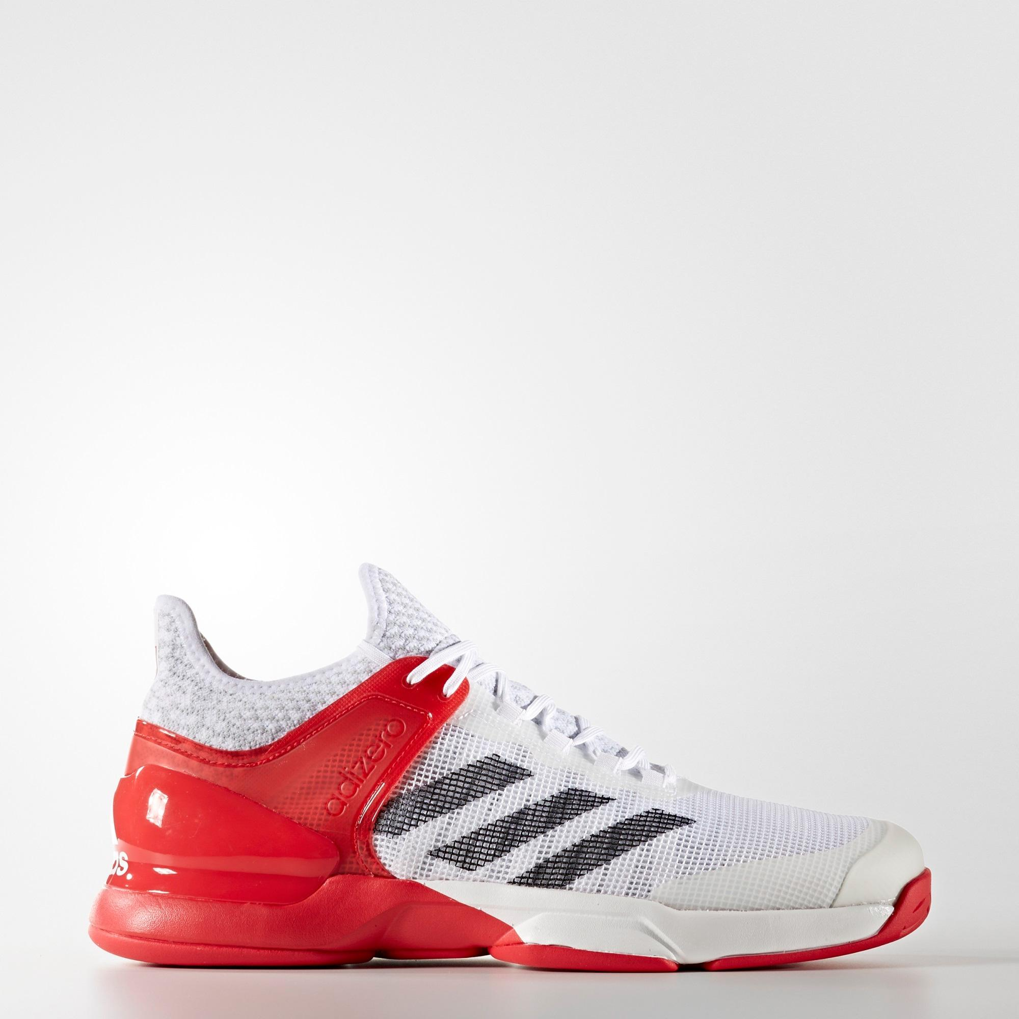 Adidas Mens Adizero Ubersonic 2.0 Tennis Shoes - White/Red