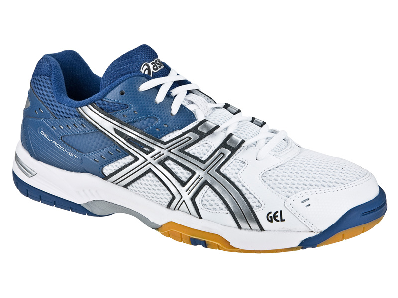 Asics Mens GEL Rocket 6 Indoor Court Shoes - White/Lightning/Dark-Blue