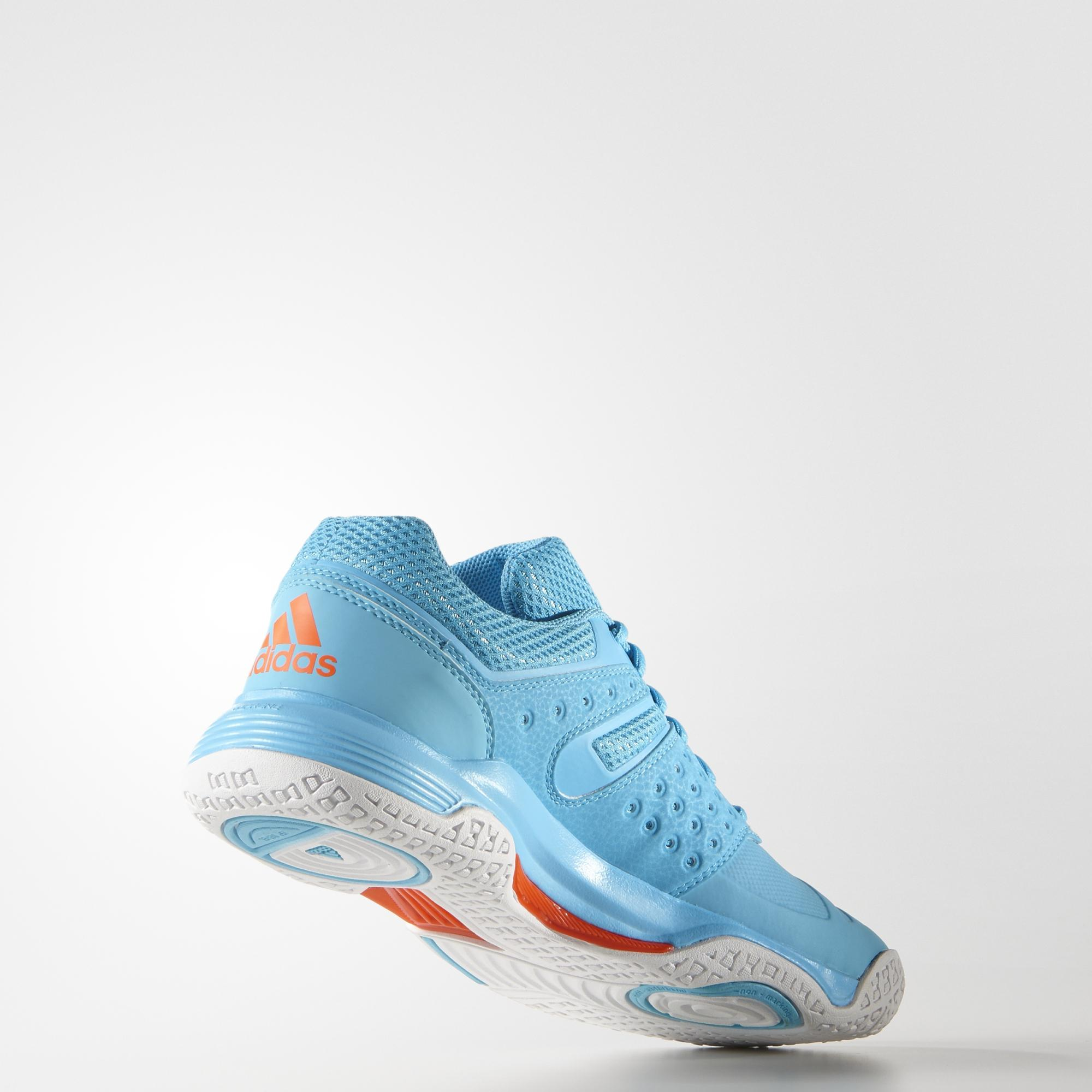 adidas Court Stabil 12 (Bright Cyan White) Womens Court Shoes   Direct Badminton