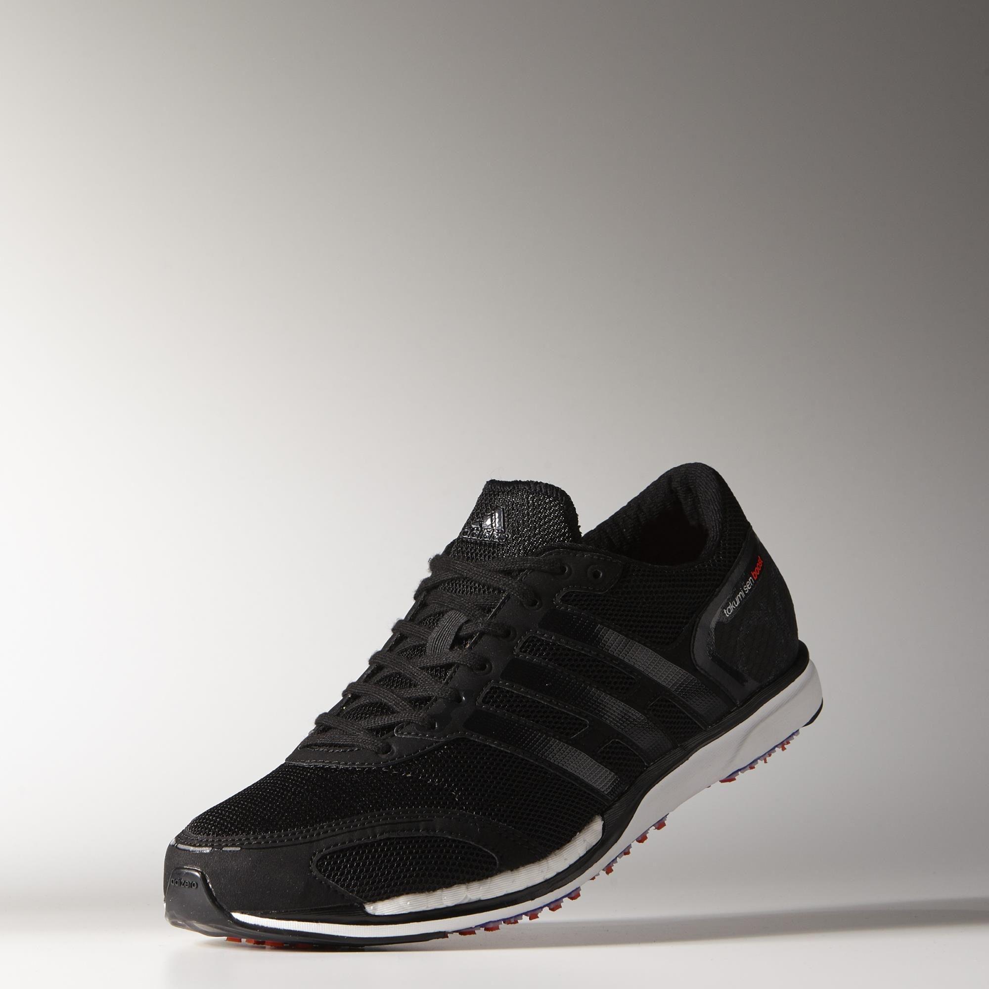 a7b6c729666 Adidas Mens Adizero Takumi Sen Boost 3 Running Shoes - Black White ...