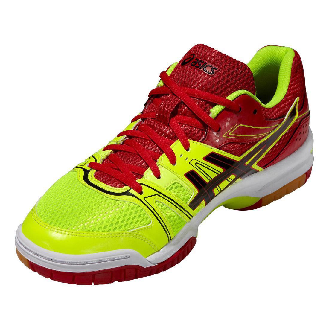 6f053003d2 Asics Mens GEL Rocket 7 Indoor Court Shoes - Yellow Red - Tennisnuts.com
