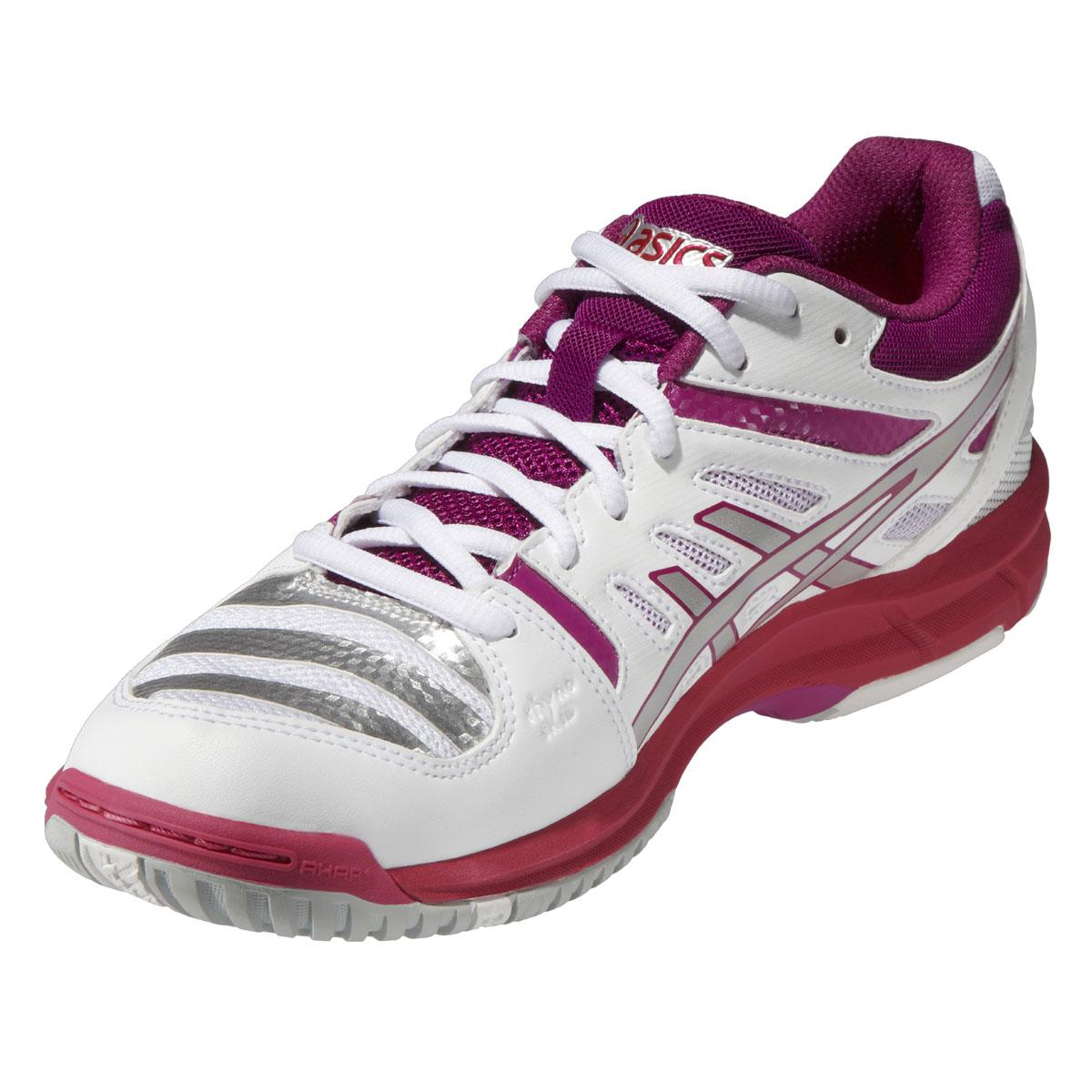 asics womens gel beyond 4 indoor court shoes white lightning fuschia. Black Bedroom Furniture Sets. Home Design Ideas