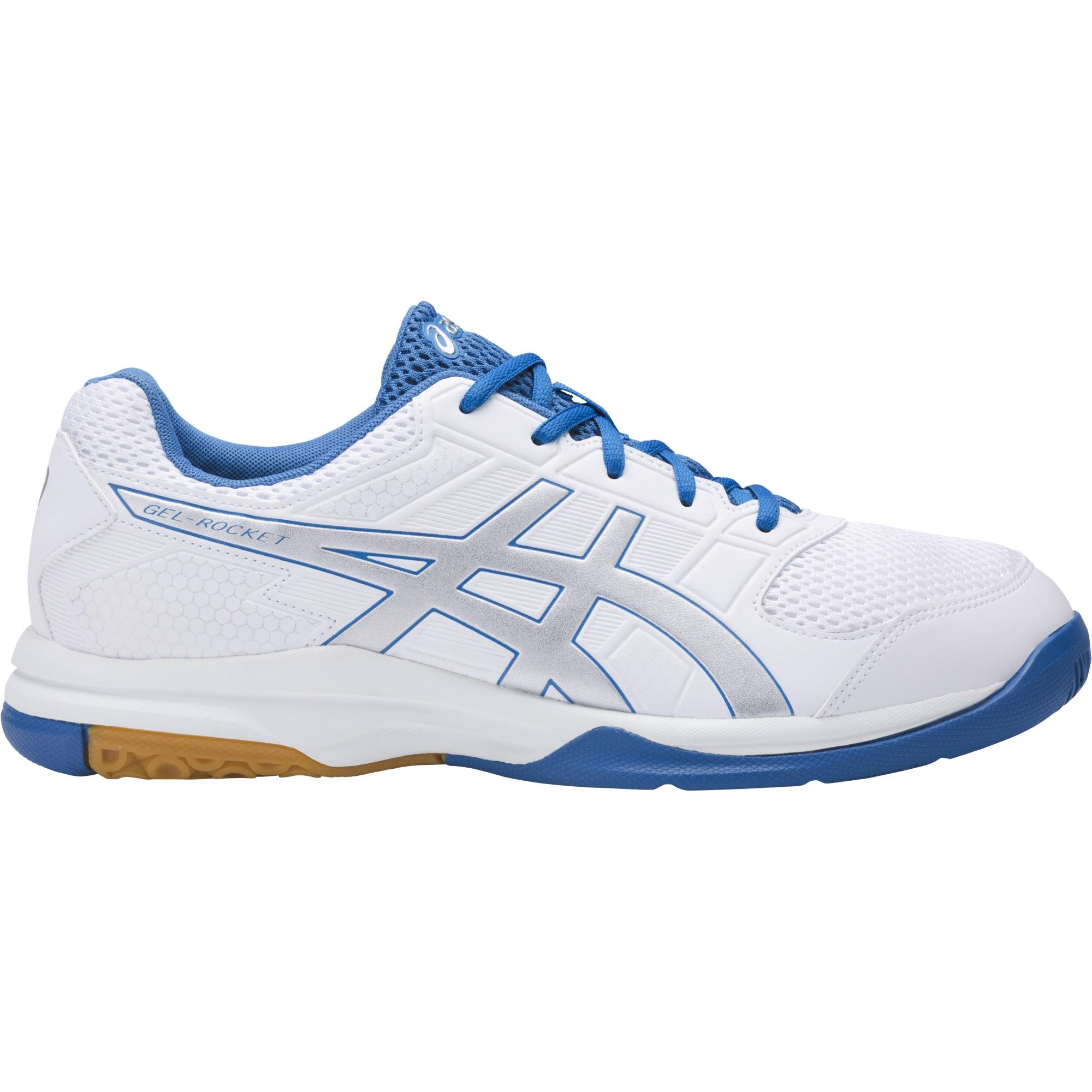 9e298c63360405 Asics Mens GEL-Rocket 8 Indoor Court Shoes - White Blue - Tennisnuts.com