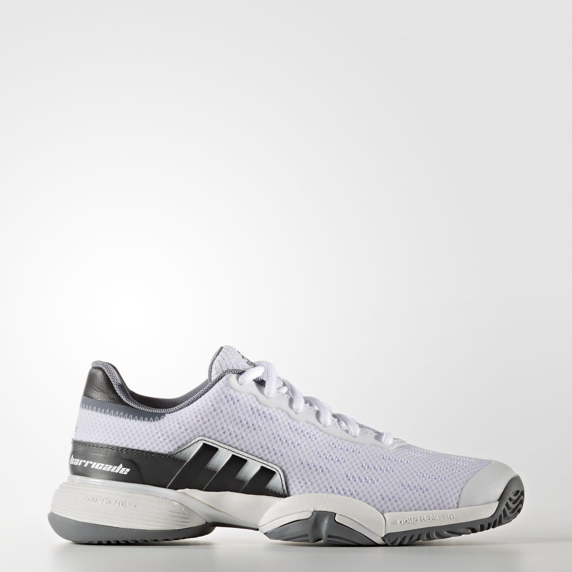 adidas barricade tennis shoes white grey