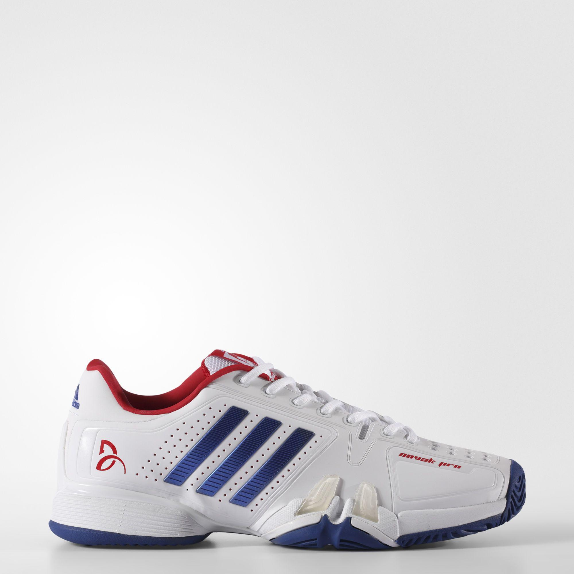 Adidas Mens Novak Pro Barricade Tennis Shoes WhiteBlue