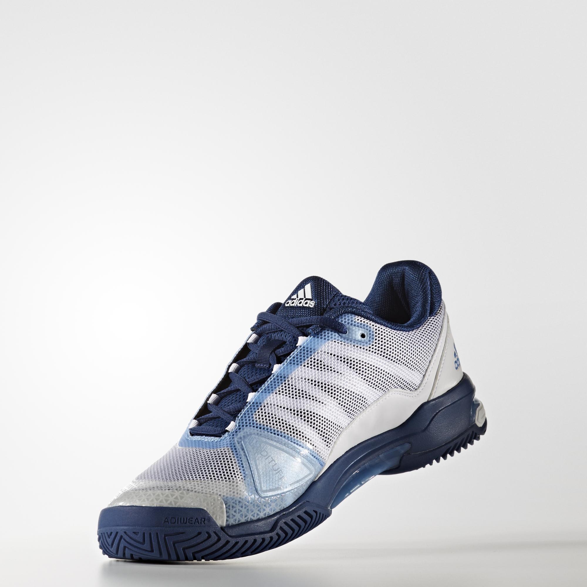new arrival be367 e63a8 Adidas Mens Barricade Club (2017) Tennis Shoes - White Tech Blue