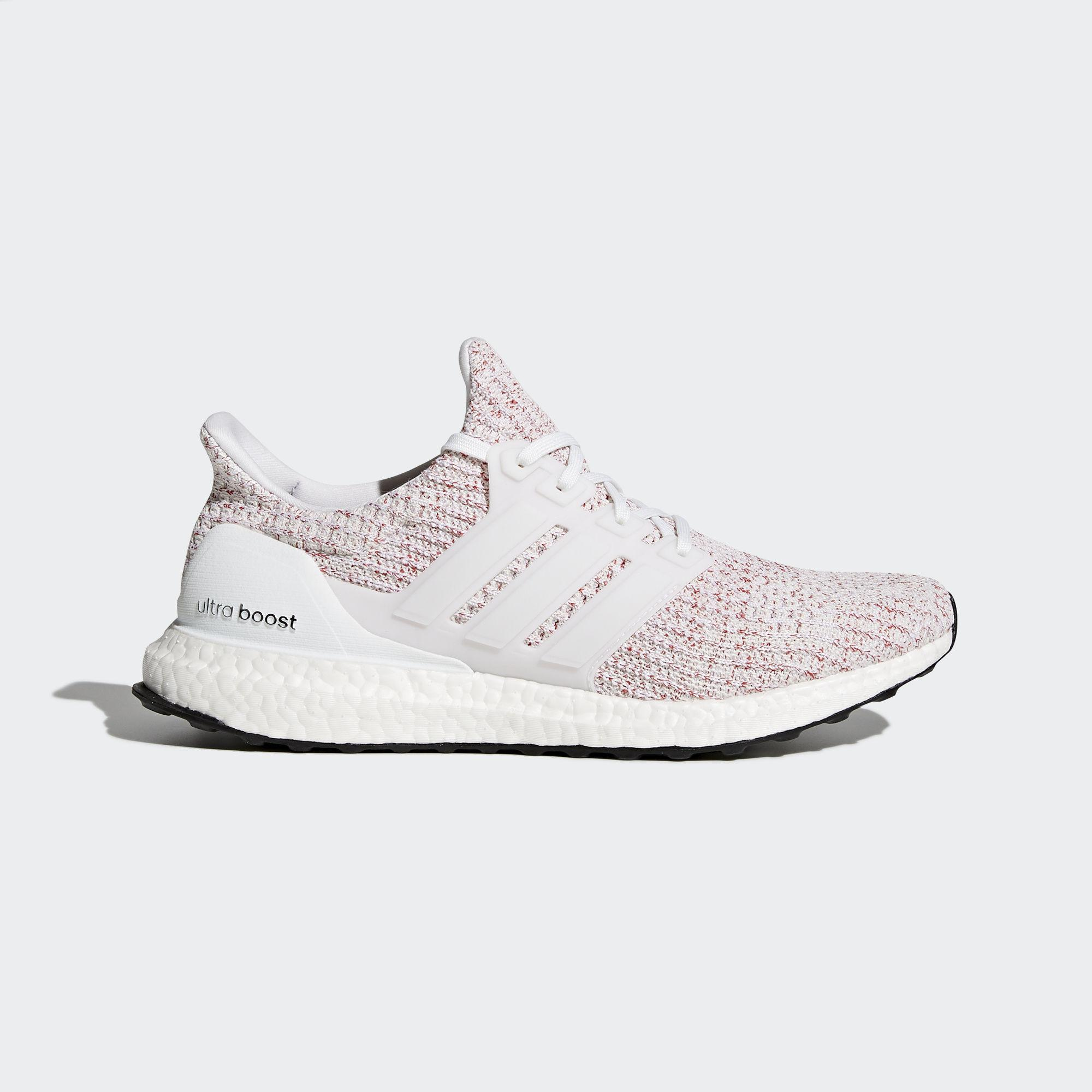 Adidas Mens Ultra Boost Running Shoes WhiteScarlet