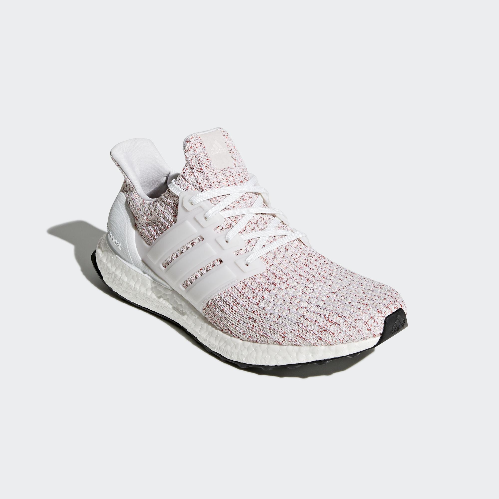 835e143ec Adidas Mens Ultra Boost Running Shoes - White Scarlet - Tennisnuts.com