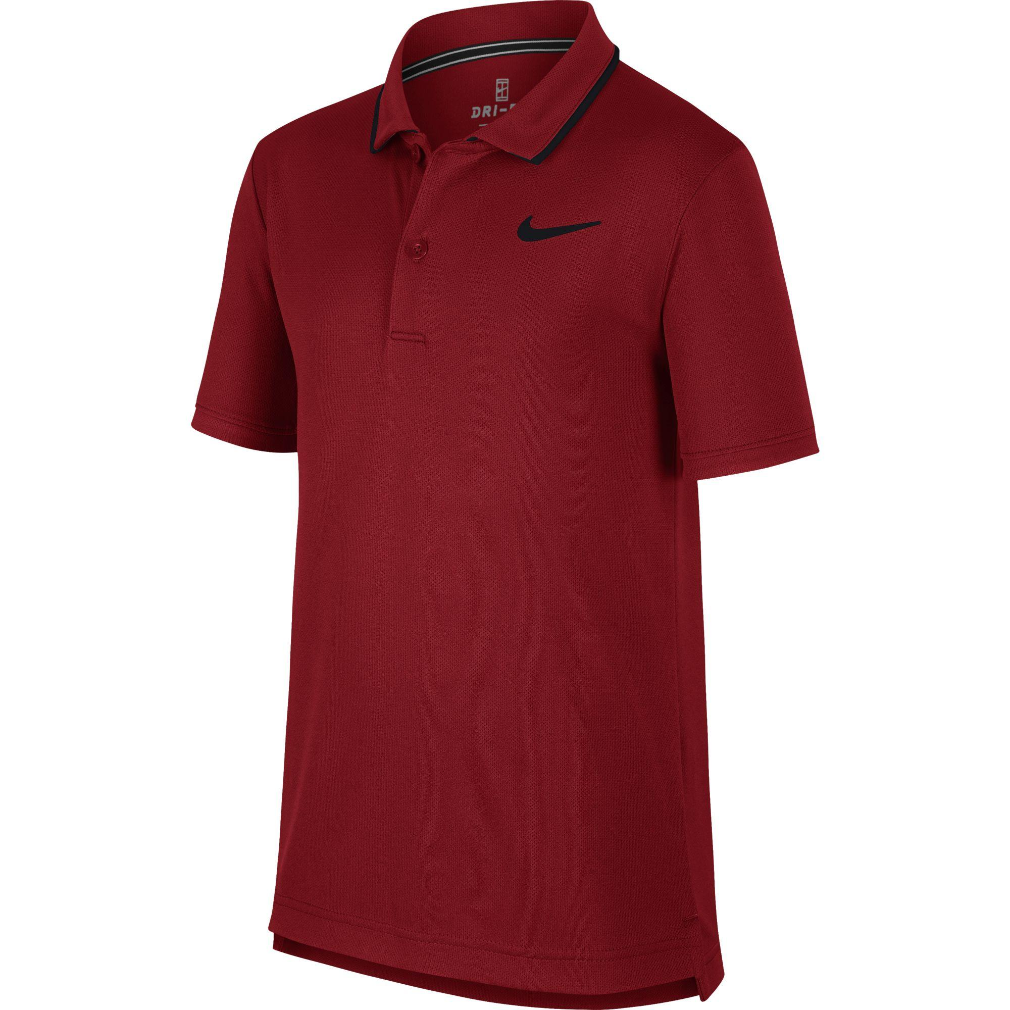 0dfdf625 Nike Boys Dri-FIT Tennis Polo - Team Crimson/Black - Tennisnuts.com