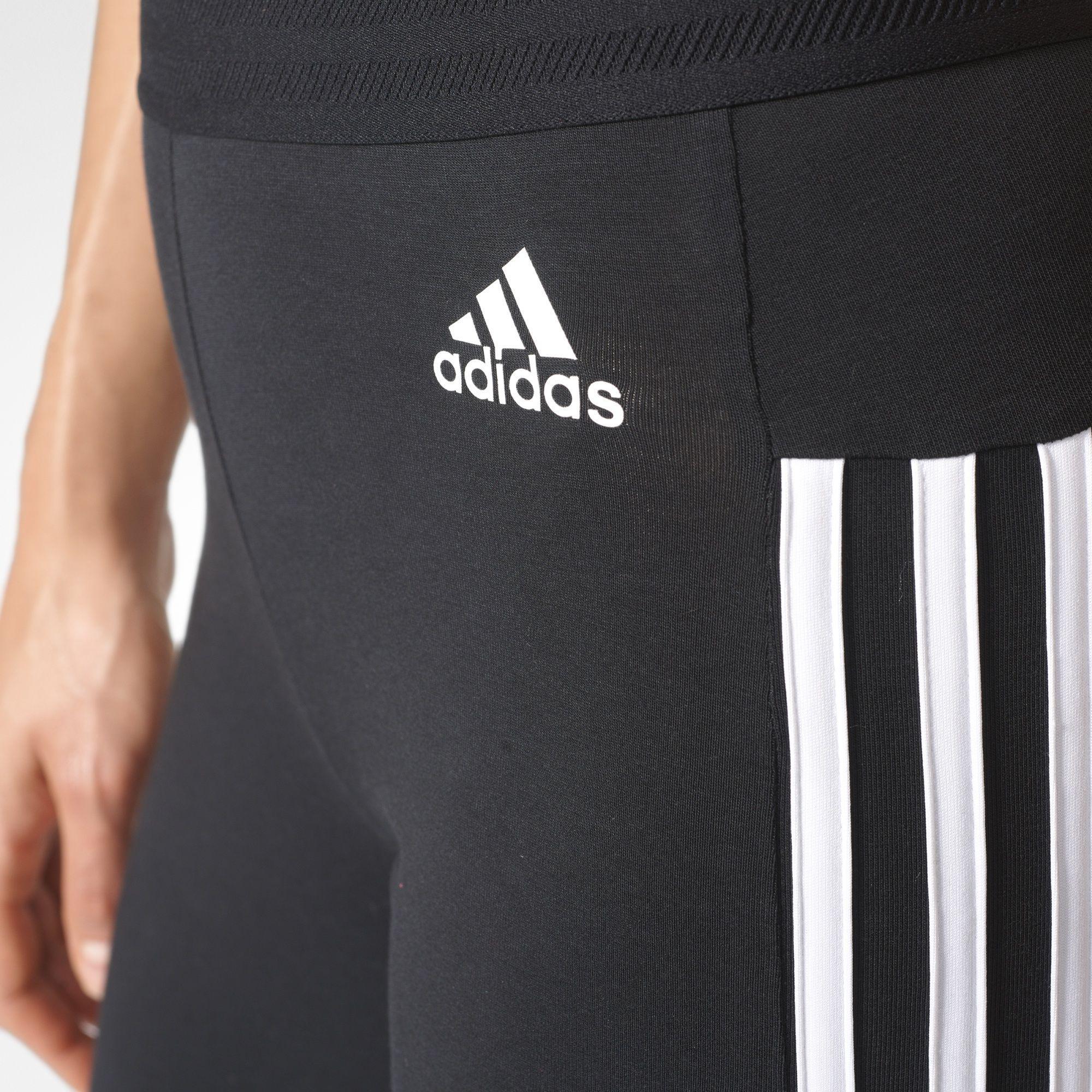 acbea10c82bd6 Adidas Womens Essentials 3-Stripe Tights - Black - Tennisnuts.com