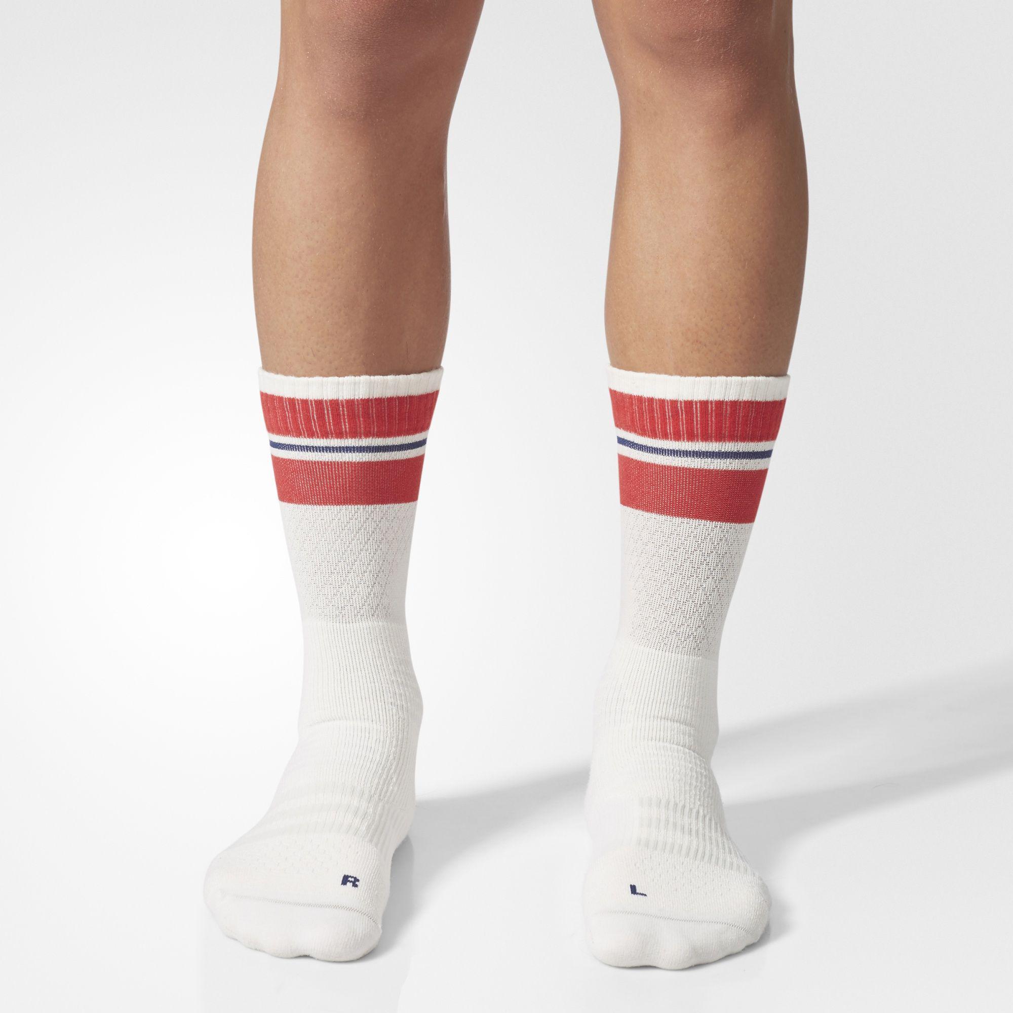Adidas New York ID Crew Socks (1 Pair) Chalk WhiteScarlet Red