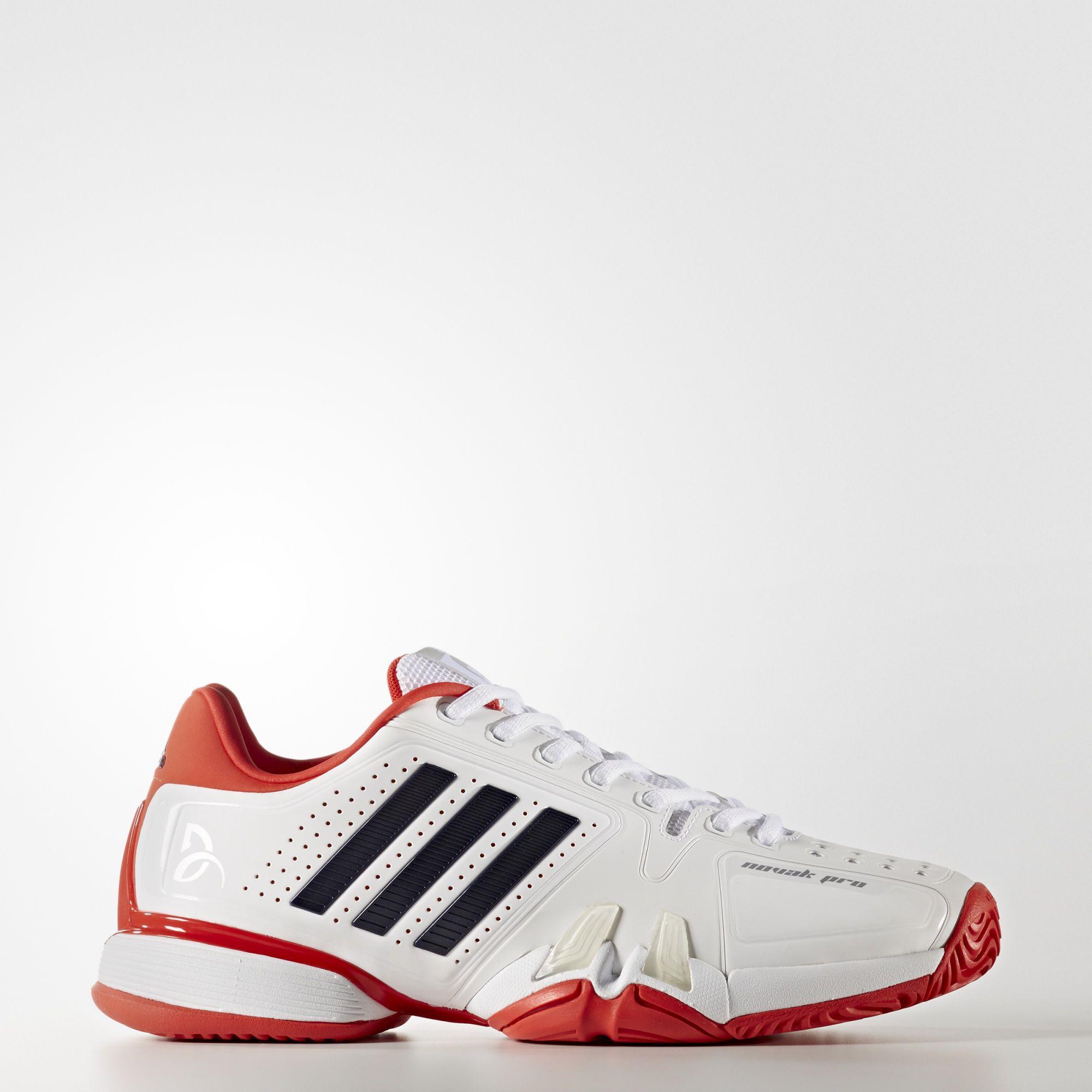 best website 7abbc ad6bd Adidas Mens Novak Pro Barricade Tennis Shoes - WhiteRed - Tennisnuts.com