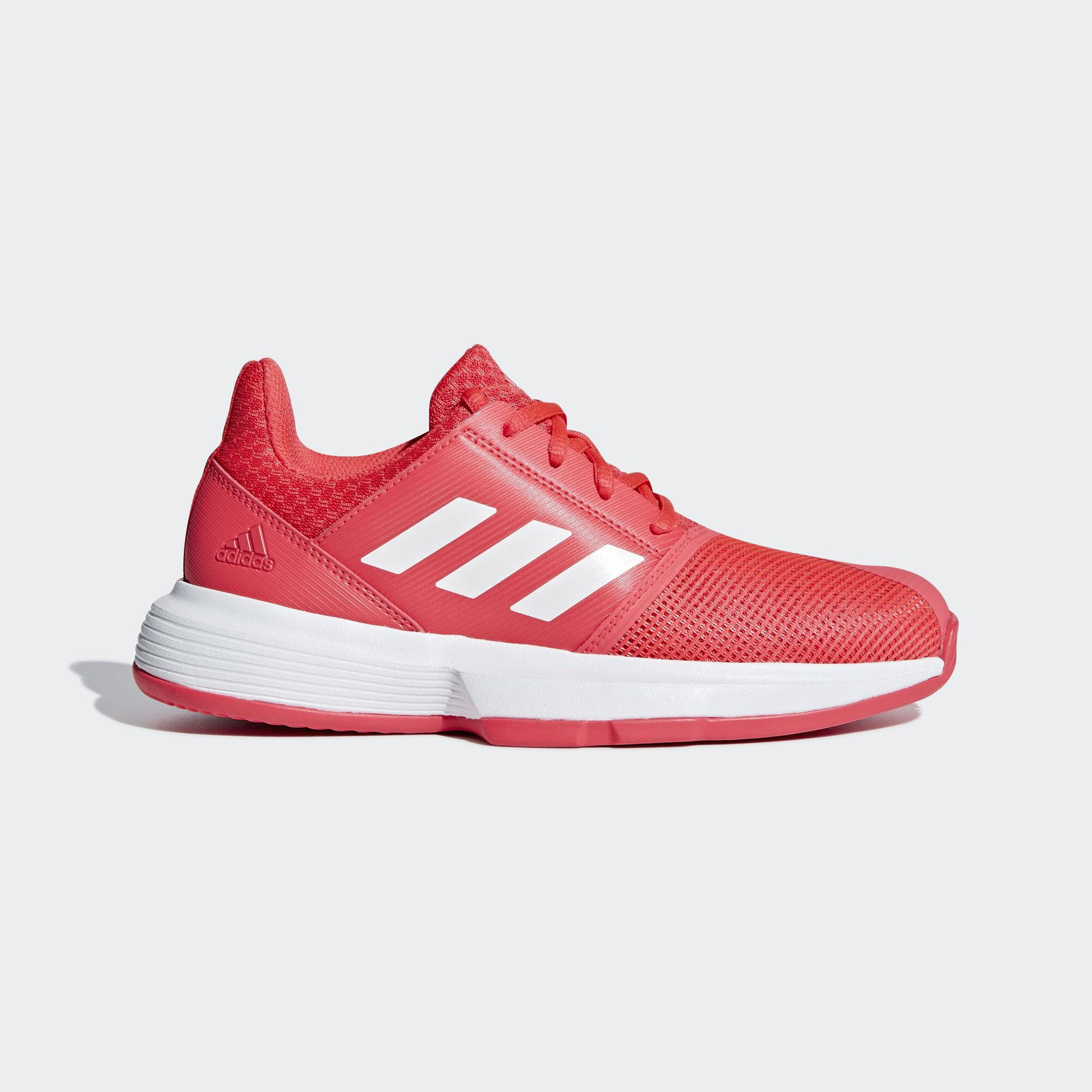 Adidas Kids CourtJam Tennis Shoes - Shock Red/Cloud White/Matte Silver