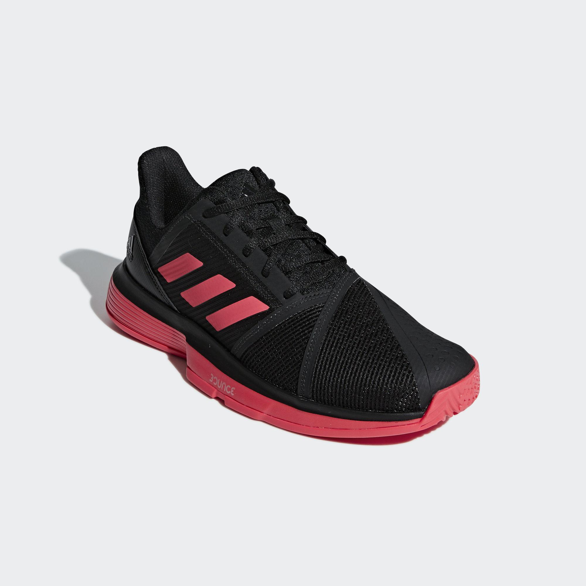 36e9ed1dcac0f Adidas Mens CourtJam Bounce Tennis Shoes - Core Black Shock Red ...