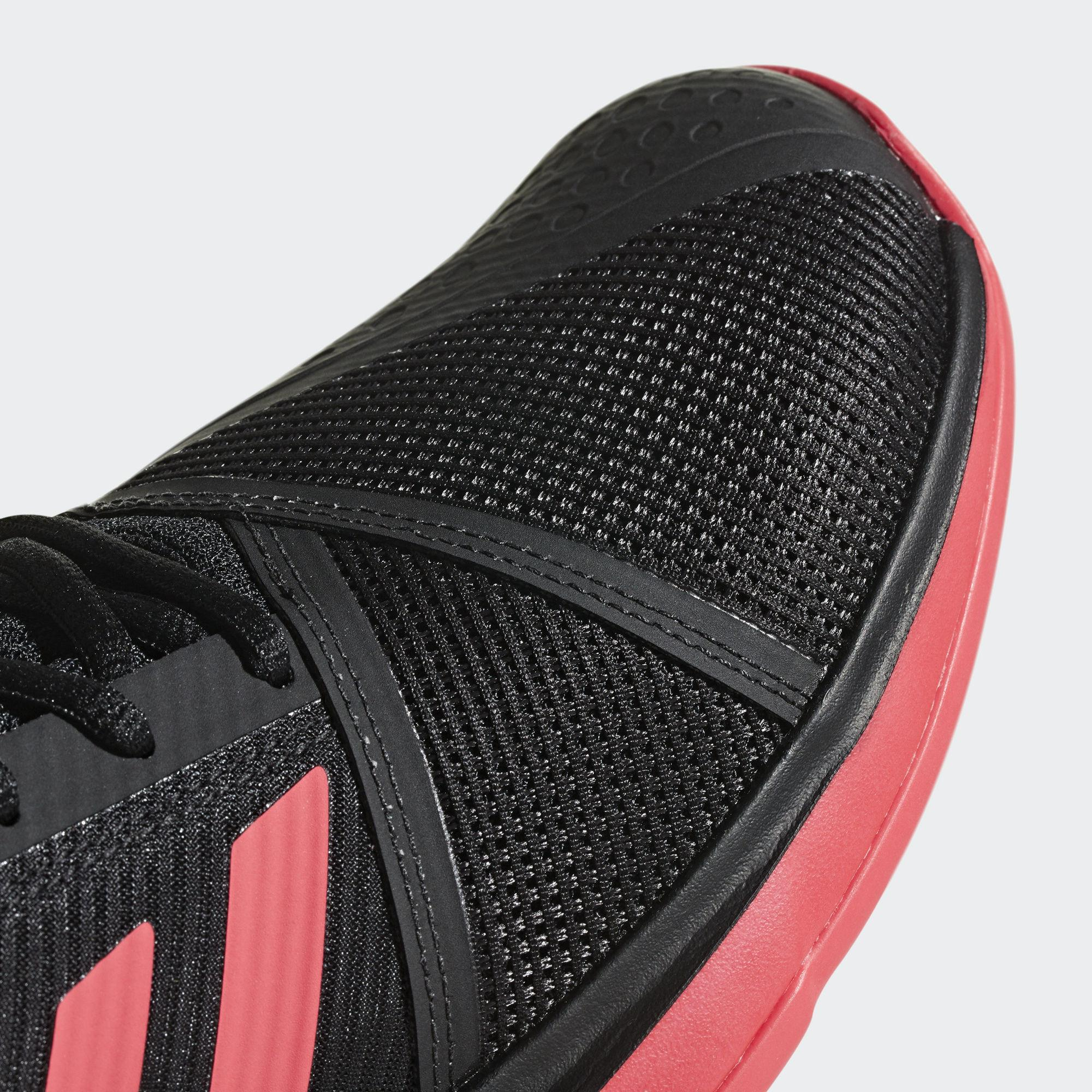 a410646c60614 Adidas Mens CourtJam Bounce Tennis Shoes - Core Black Shock Red ...