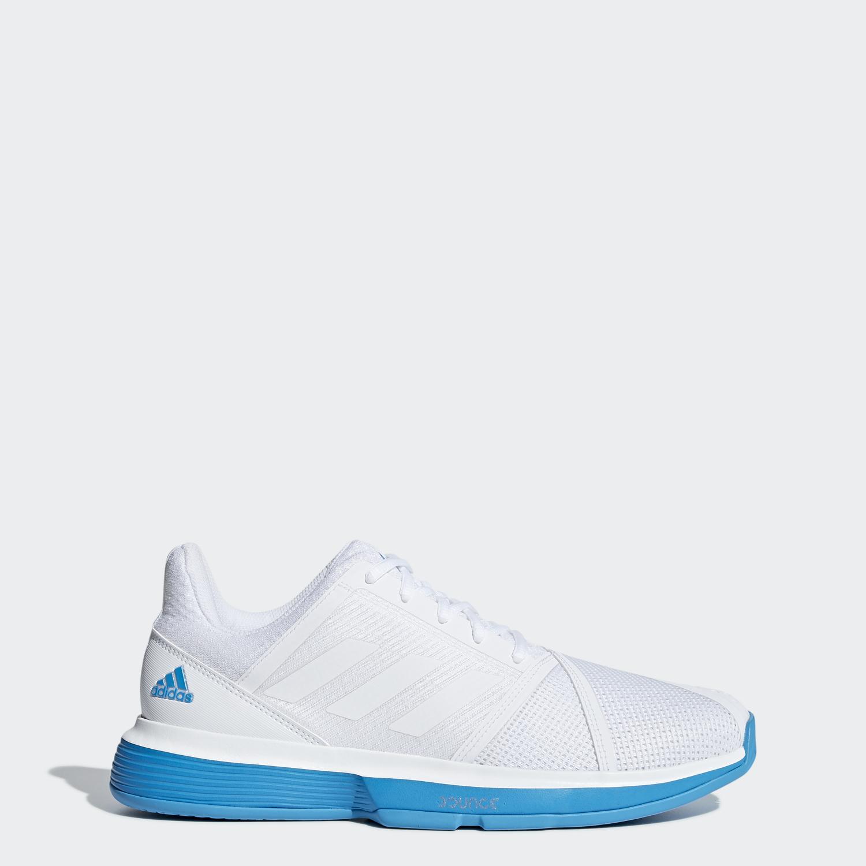 088200ce5e630 Adidas Mens CourtJam Bounce Tennis Shoes - White Turquoise - Tennisnuts.com