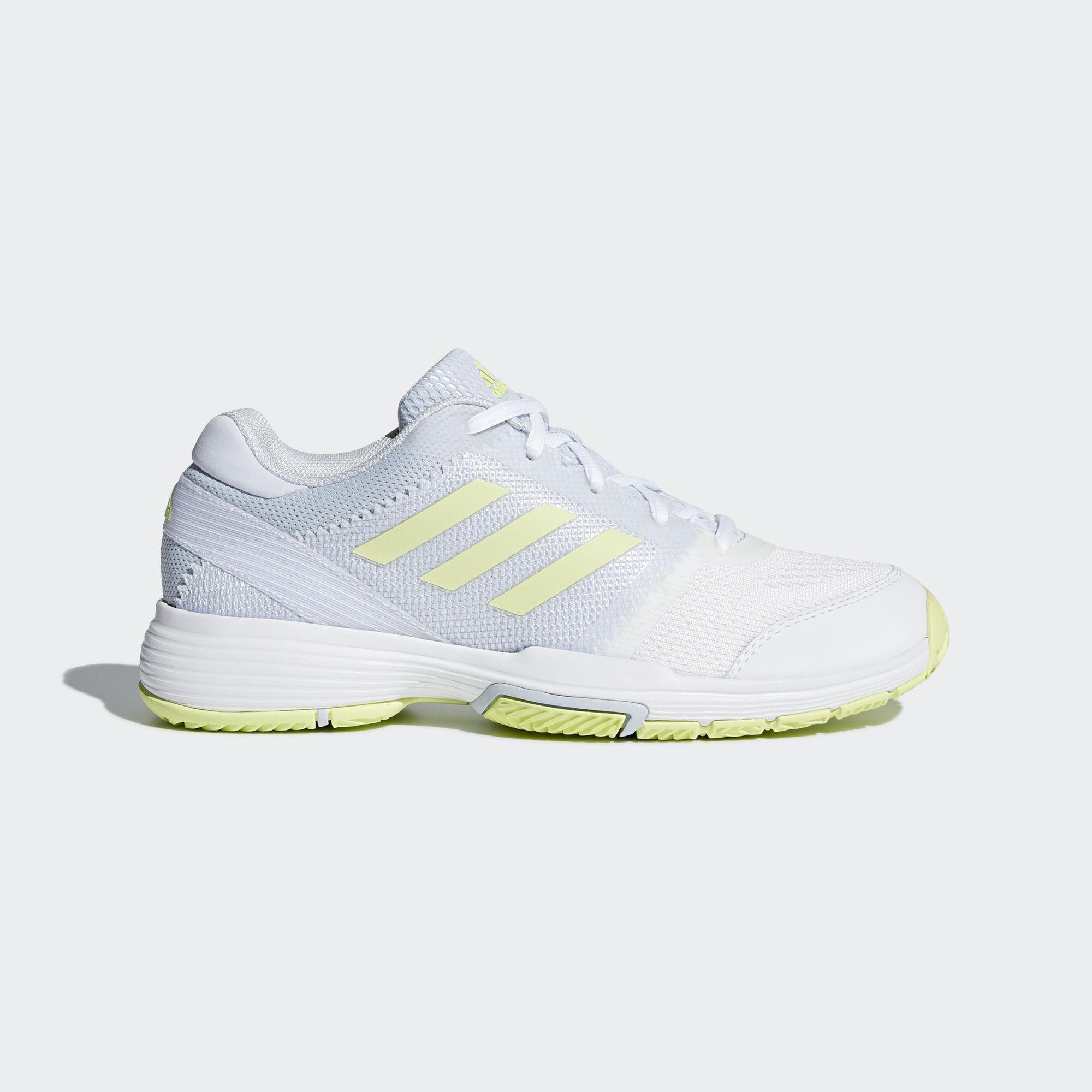 Adidas Womens Barricade Club Tennis Shoes - White/Blue/Yellow