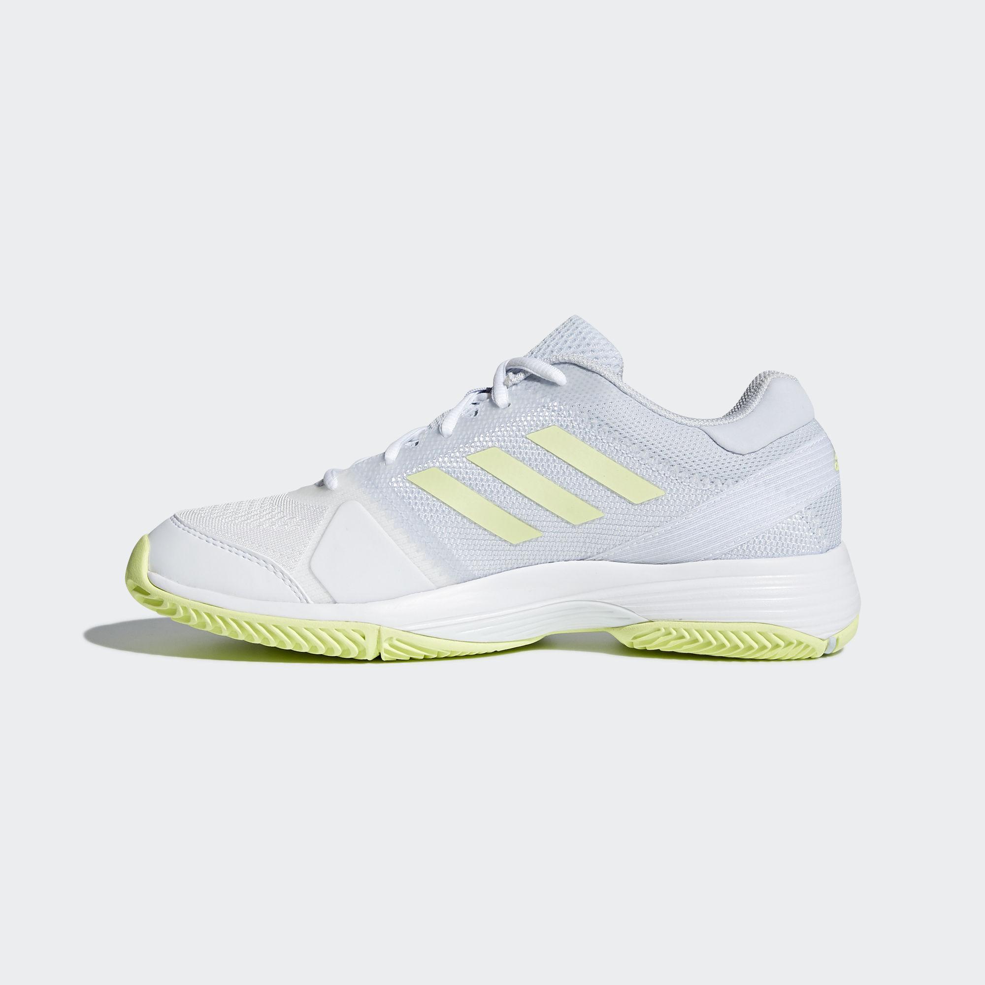 f24a1d930ea Adidas Womens Barricade Club Tennis Shoes - White Blue Yellow ...