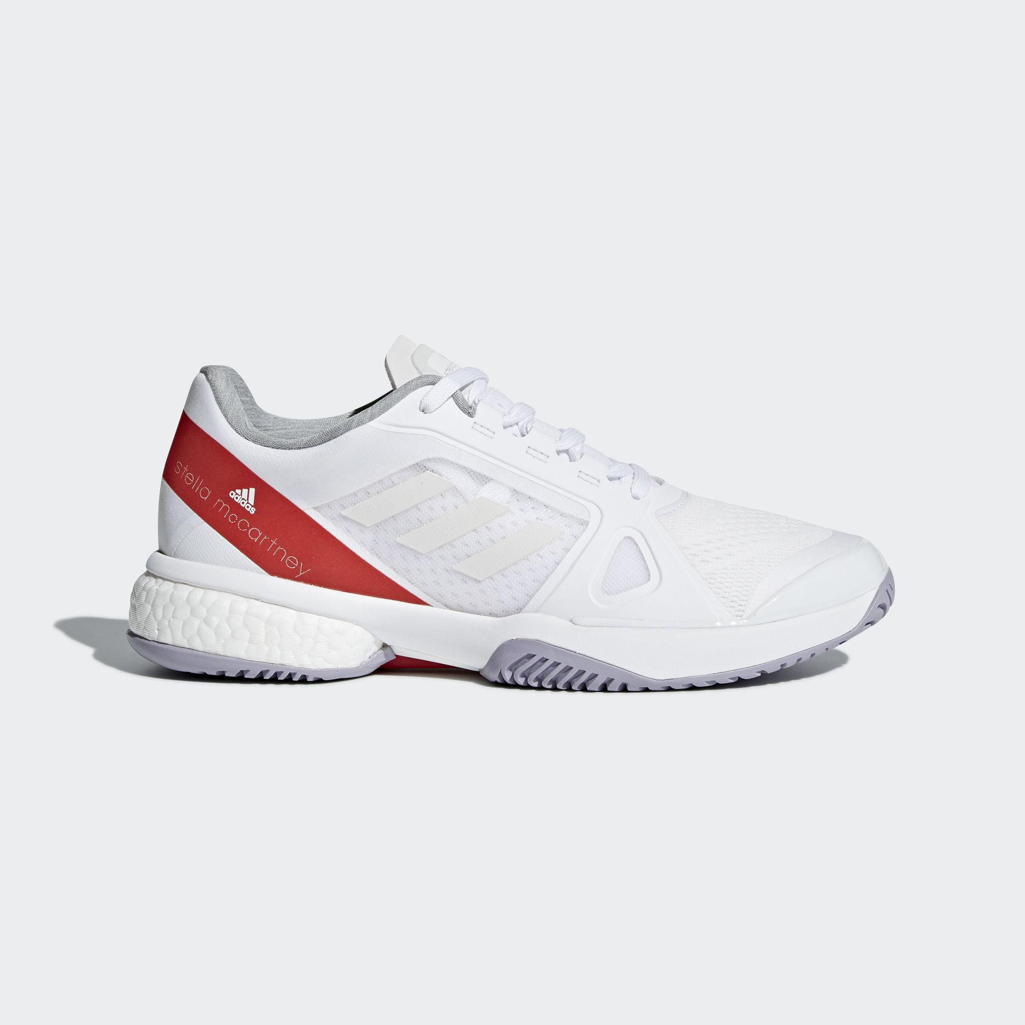c91253ae9f1c3 Adidas Womens SMC Barricade Boost 2018 Tennis Shoes - White Silver -  Tennisnuts.com