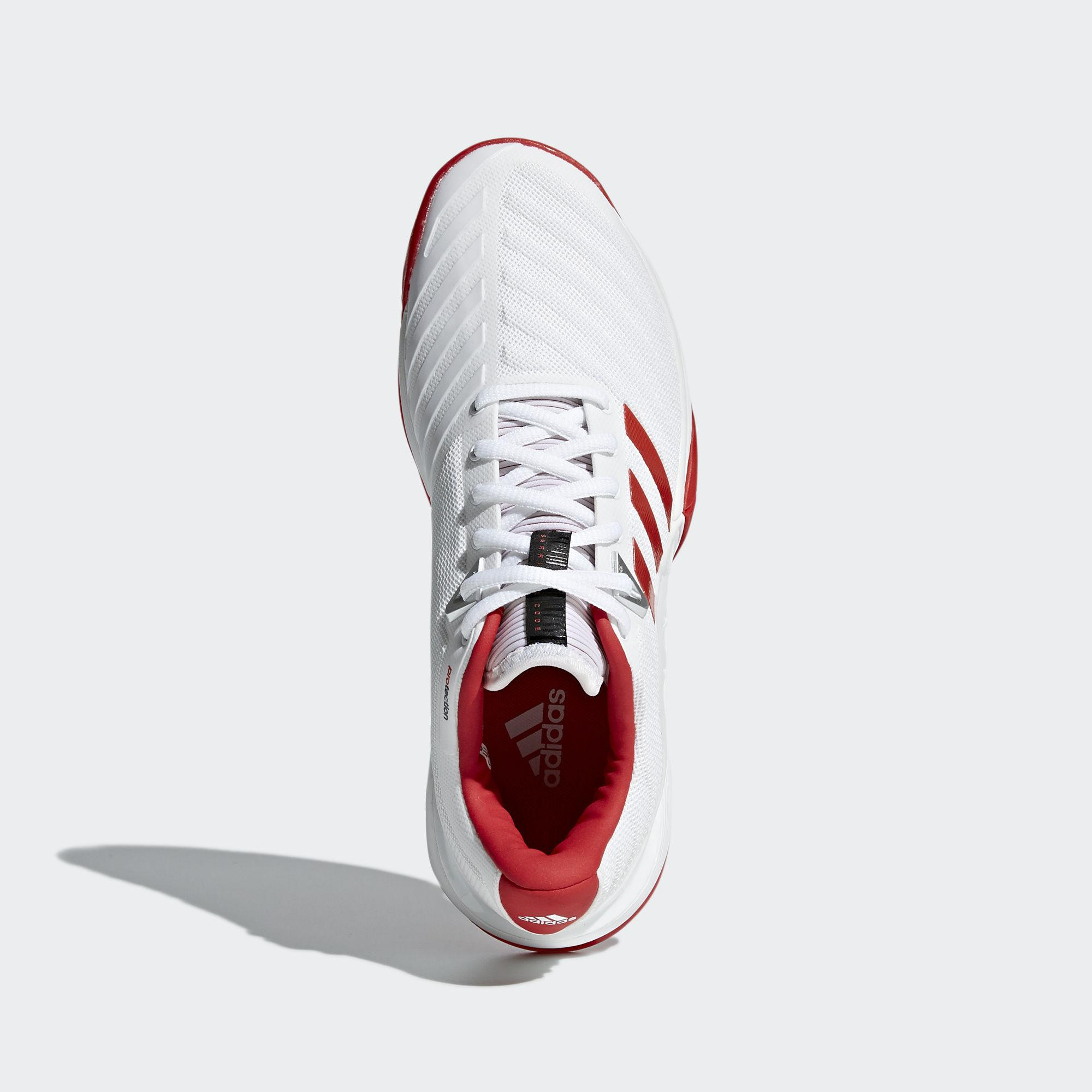 c9fde3fc42ded3 Adidas Womens Barricade 2018 Tennis Shoes - White Red - Tennisnuts.com