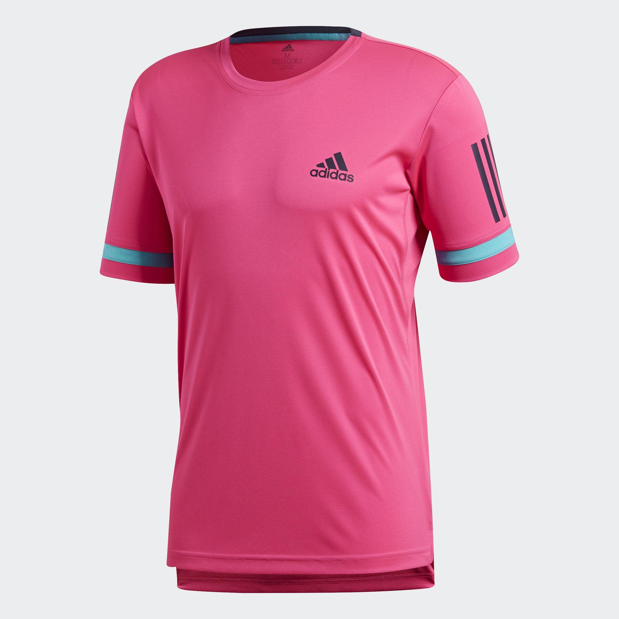 Adidas Mens 3 Stripes Club Tee Shock Pink