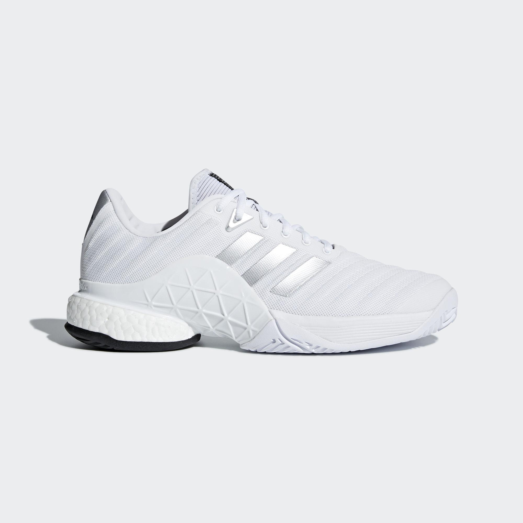 new product 584e3 e0af1 Adidas Mens Barricade Boost 2018 Tennis Shoes - WhiteSilver -  Tennisnuts.com