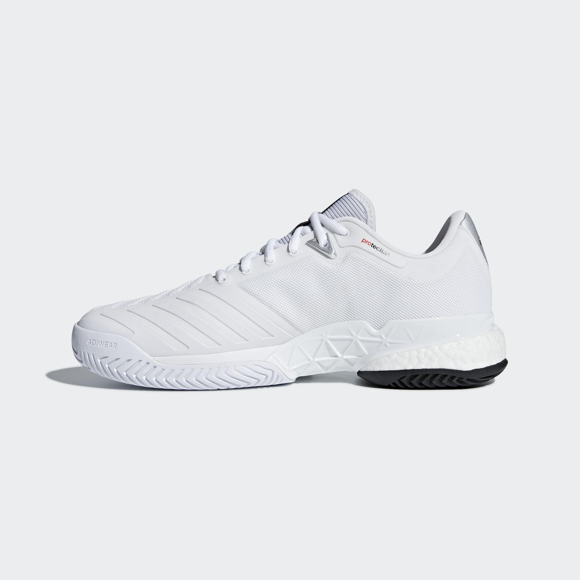 the latest 6d1b3 9c4b0 Adidas Mens Barricade Boost 2018 Tennis Shoes - WhiteSilver