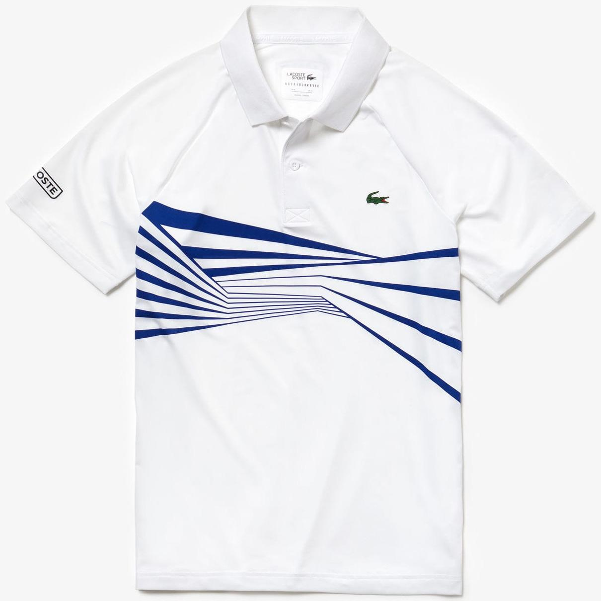 59fca41c Lacoste Mens Djokovic Graphic Print Polo - White/Blue