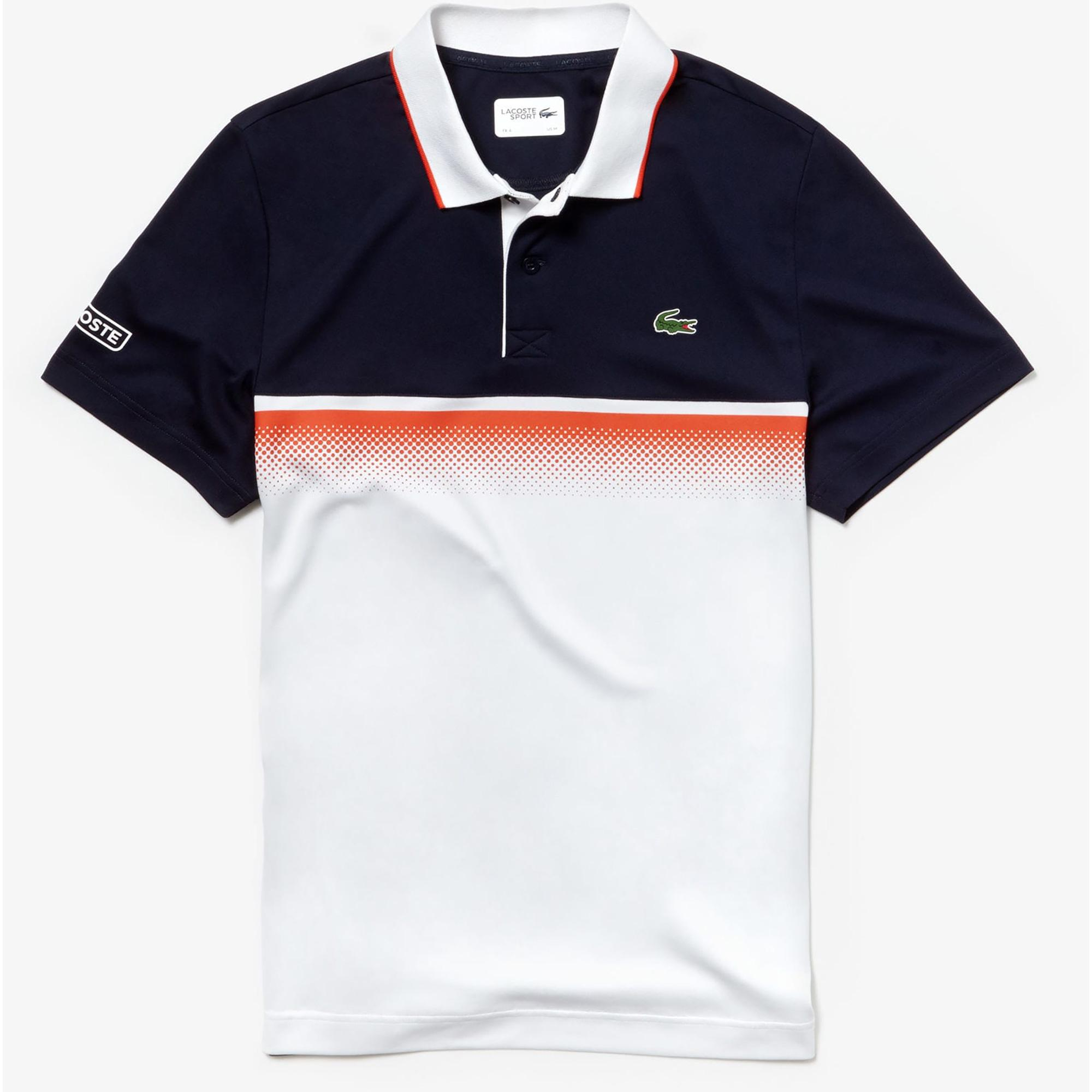 484add9c Lacoste Mens Shaded Colourblock Technical Piqué Polo - Navy Blue/White/Red