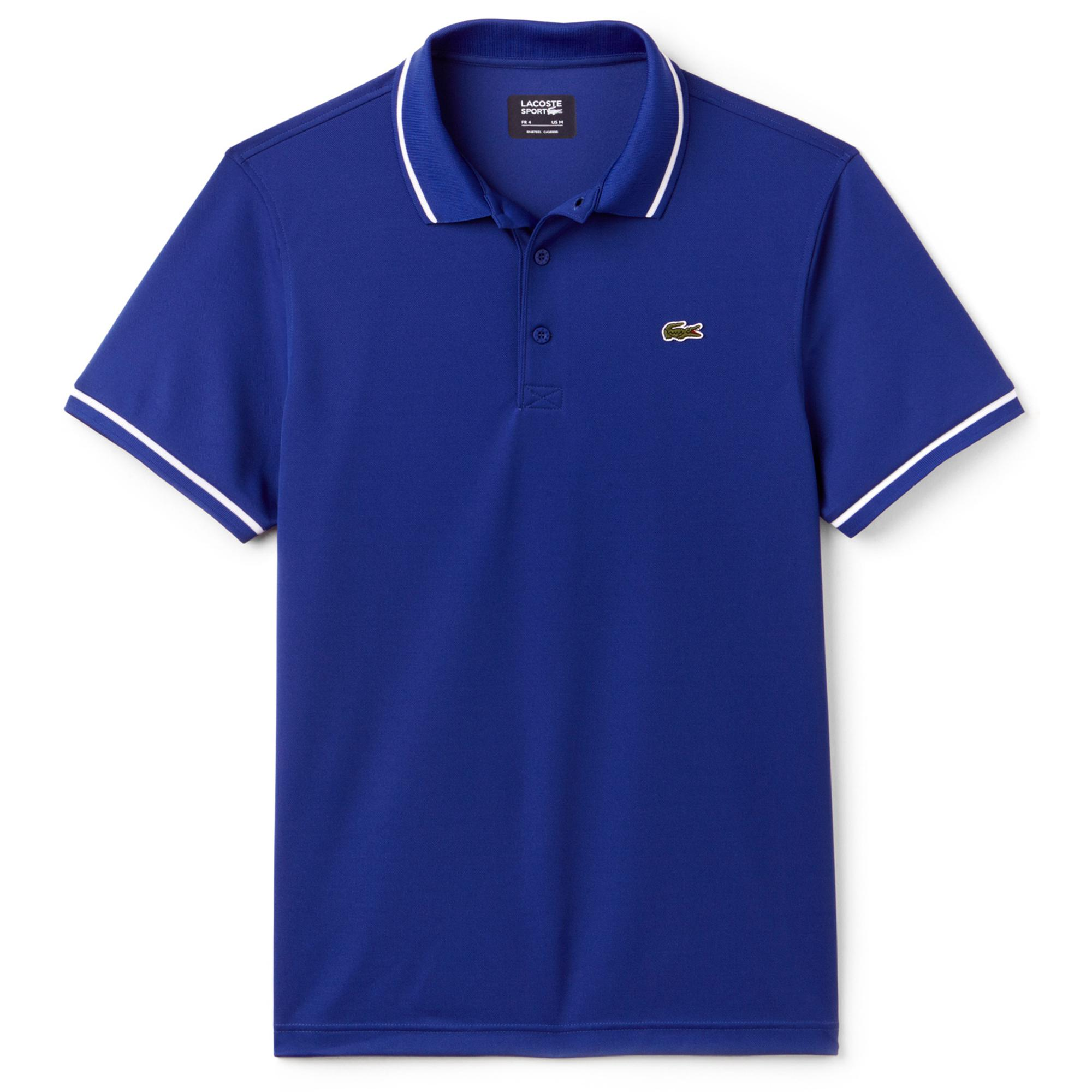 dc680491e Lacoste Sport Mens Ultra-Dry Tennis Polo - Blue/White - Tennisnuts.com