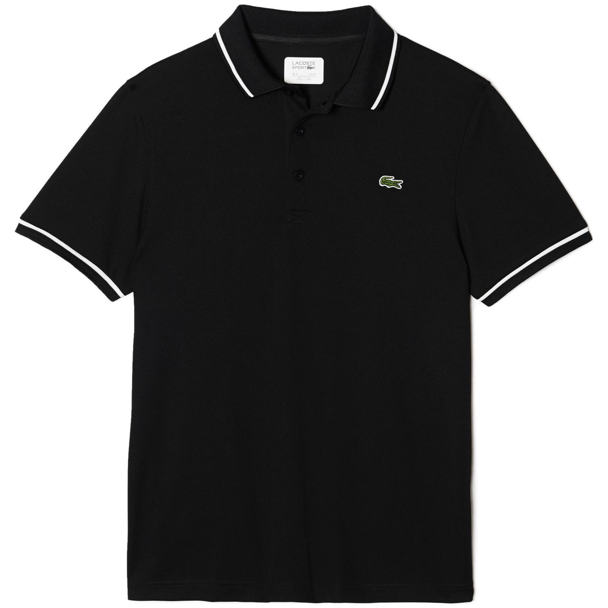 70f30de87 Lacoste Sport Mens Ultra-Dry Tennis Polo - Black White - Tennisnuts.com