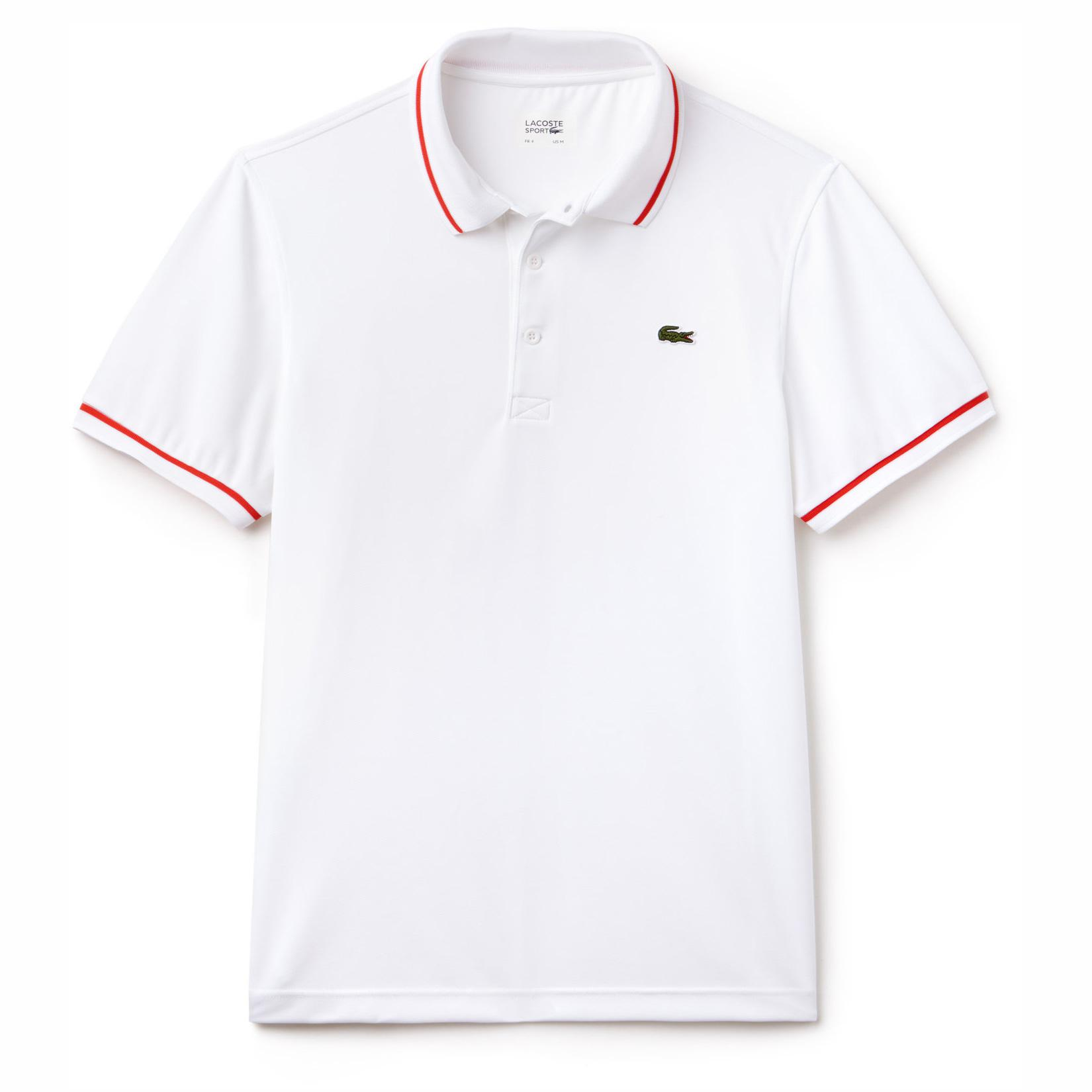 b5f7b3aaf Lacoste Sport Mens Ultra-Dry Tennis Polo - White/Red - Tennisnuts.com