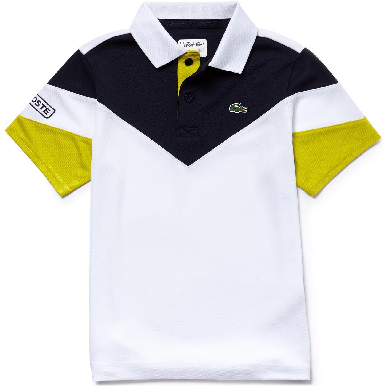 17a8d30bff Lacoste Sport Boys Tennis Colourblock Tech Pique Polo - White/Navy/Yellow