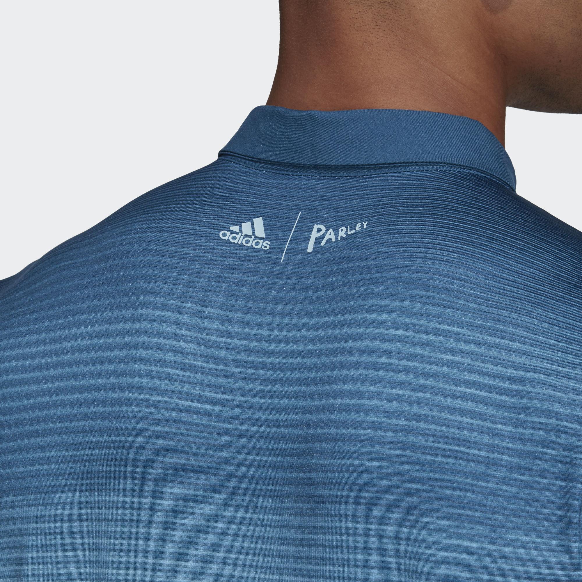 ced47d176 Adidas Mens Parley Polo Shirt - Easy Blue/White - Tennisnuts.com